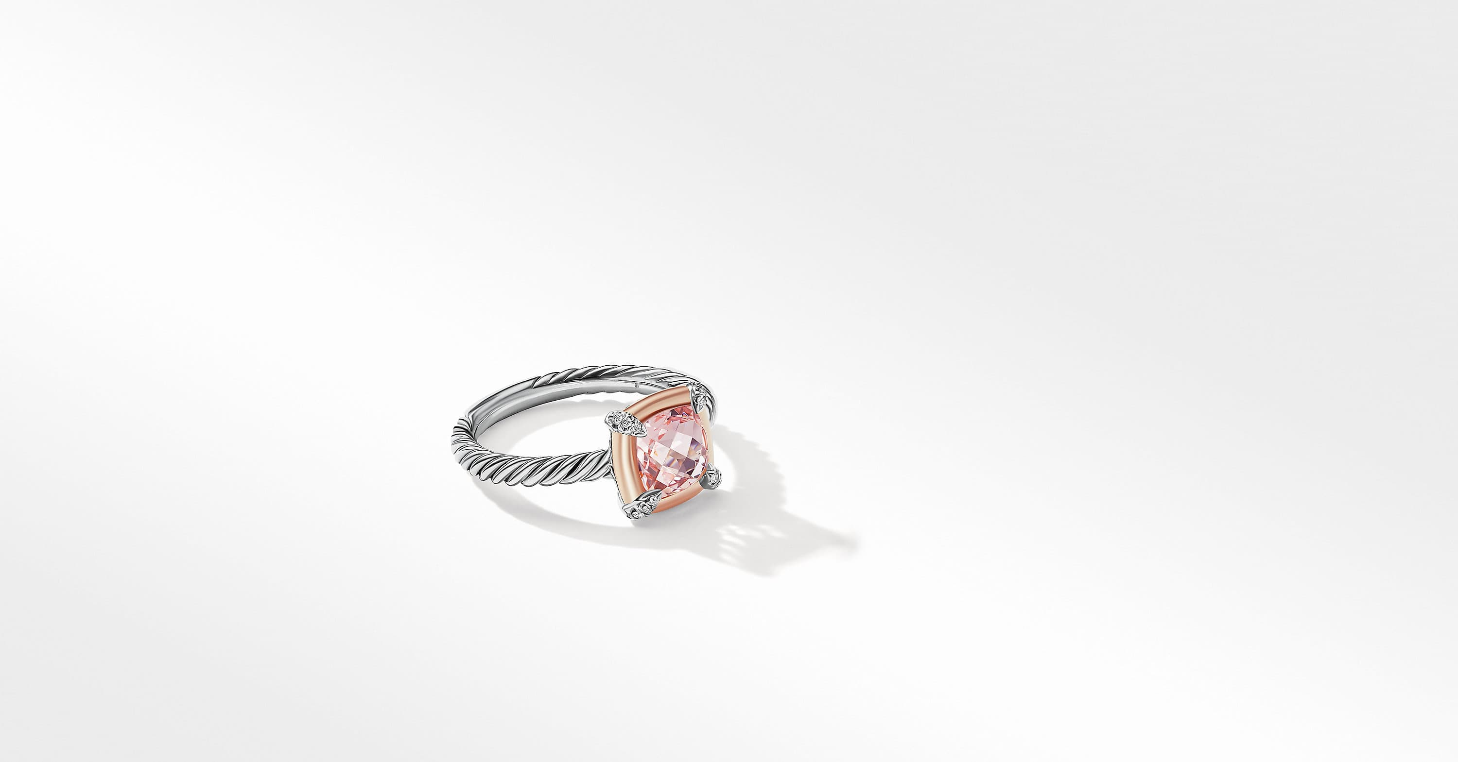 Petite Chatelaine Ring with 18K Rose Gold Bezel and Diamonds, 10mm
