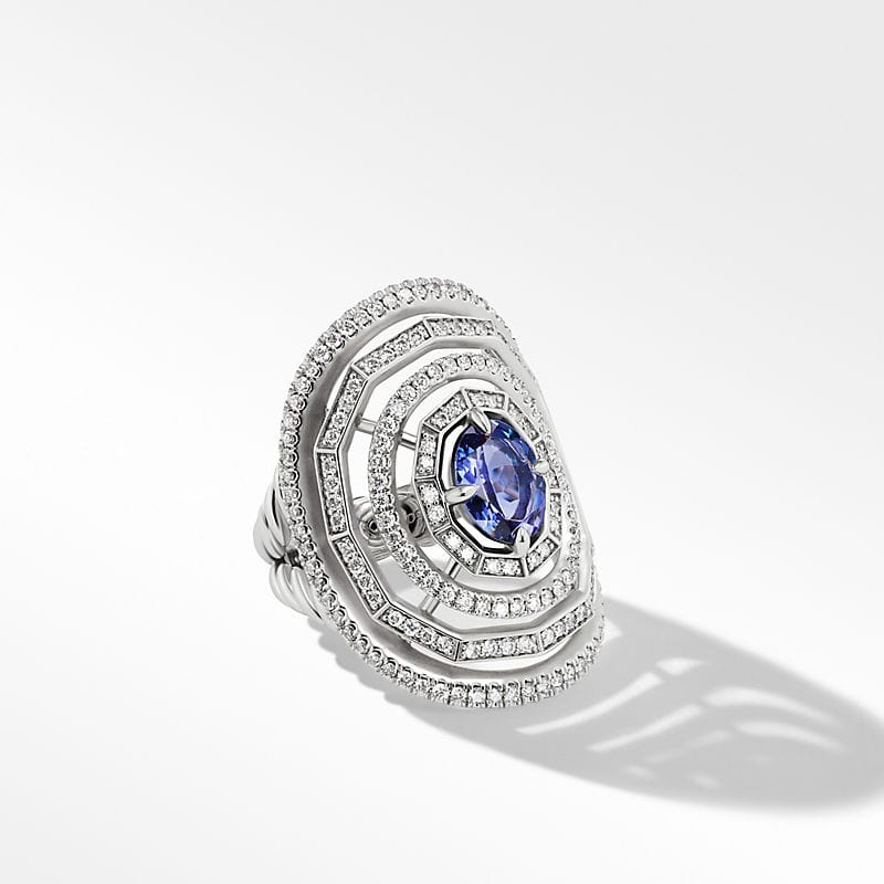 Stax Statement Stone Ring in 18K White Gold with Full Pavé, 30mm