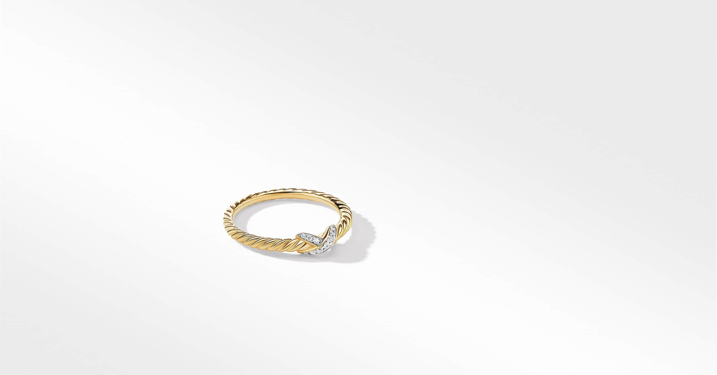 Petite X Ring in 18K Yellow Gold with Diamonds, 2.2mm
