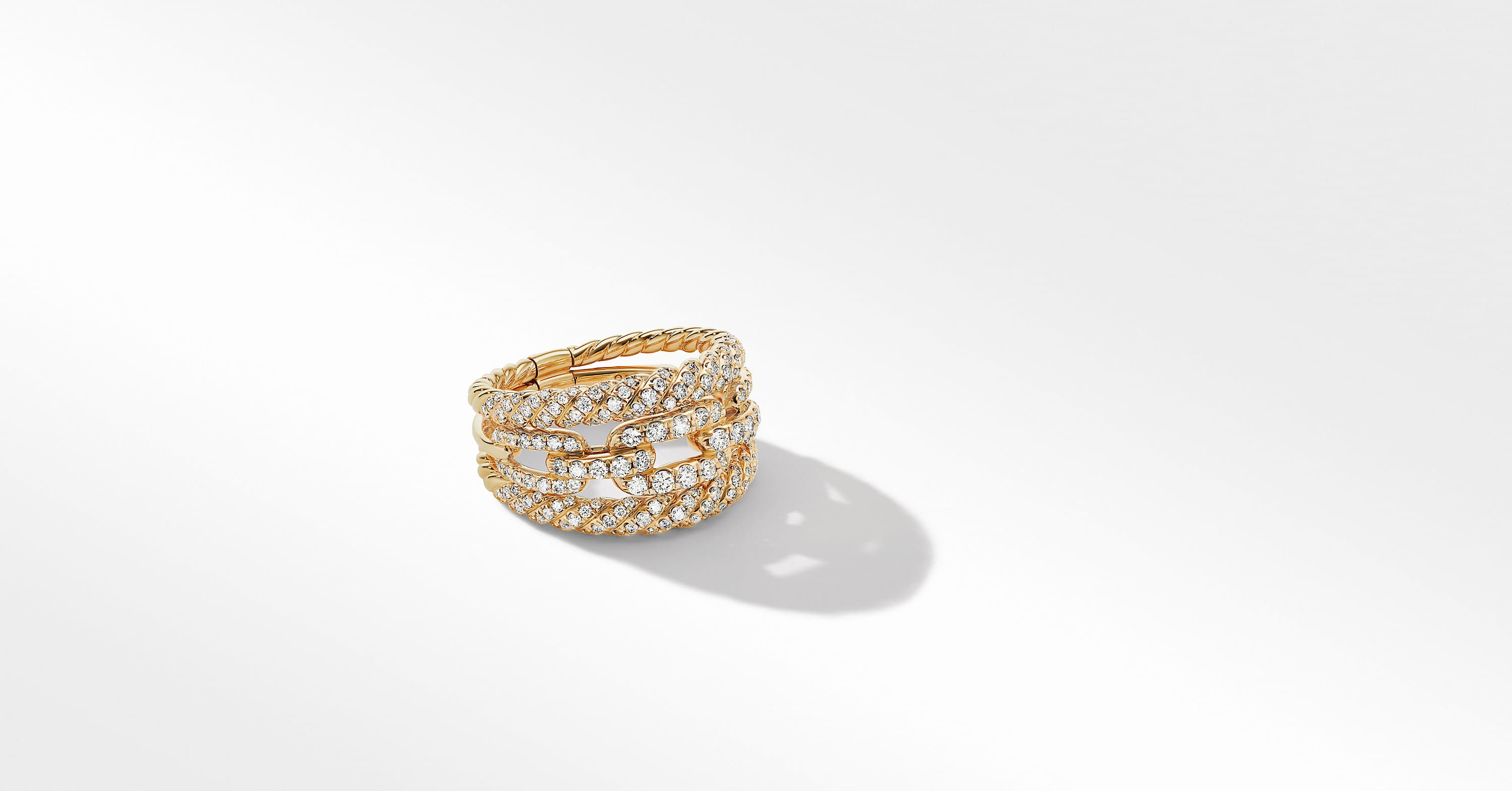 Stax Three-Row Ring in 18K Yellow Gold with Full Pavé, 14mm