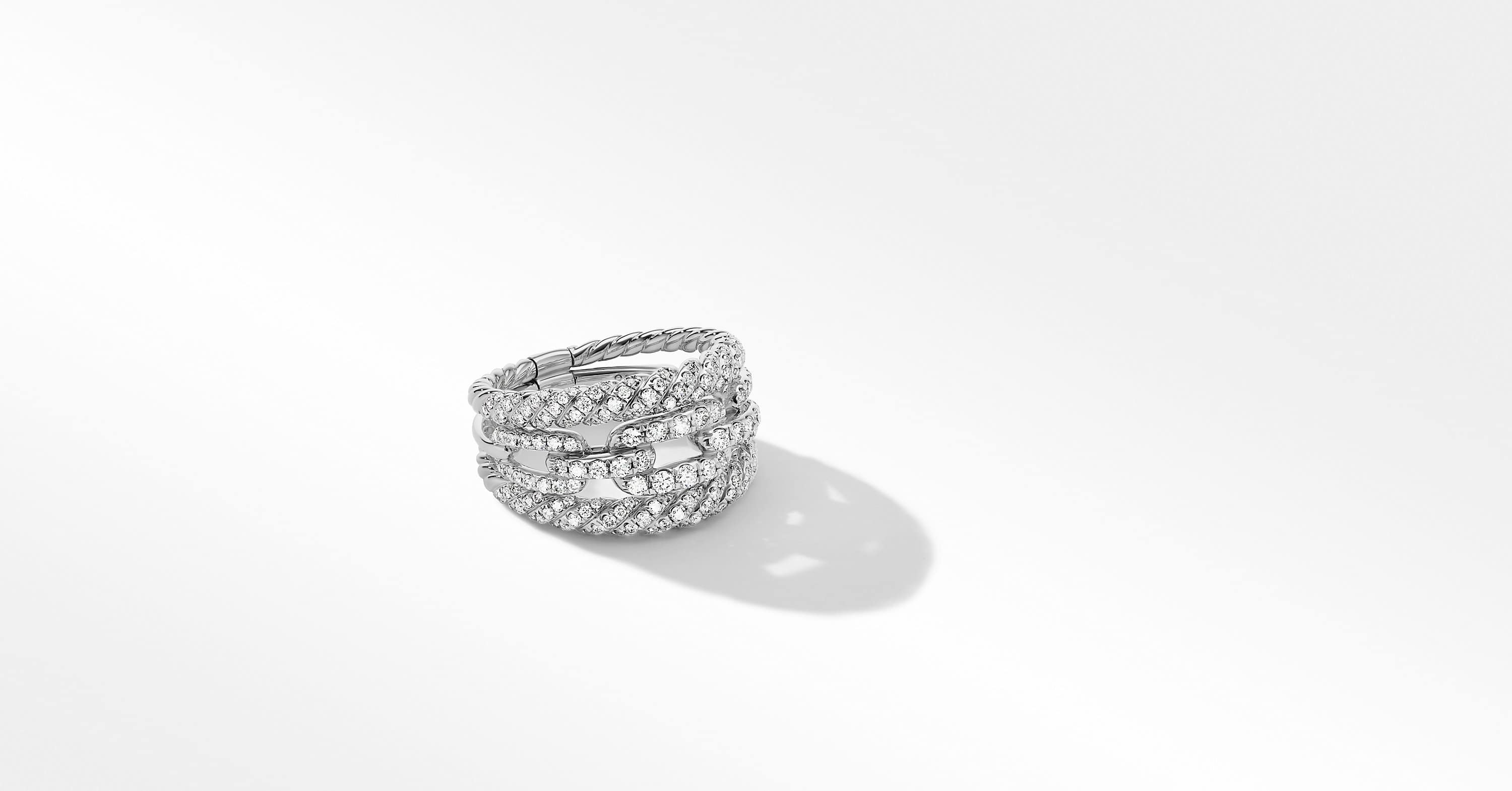 Stax Three-Row Ring in 18K White Gold with Full Pavé, 14mm