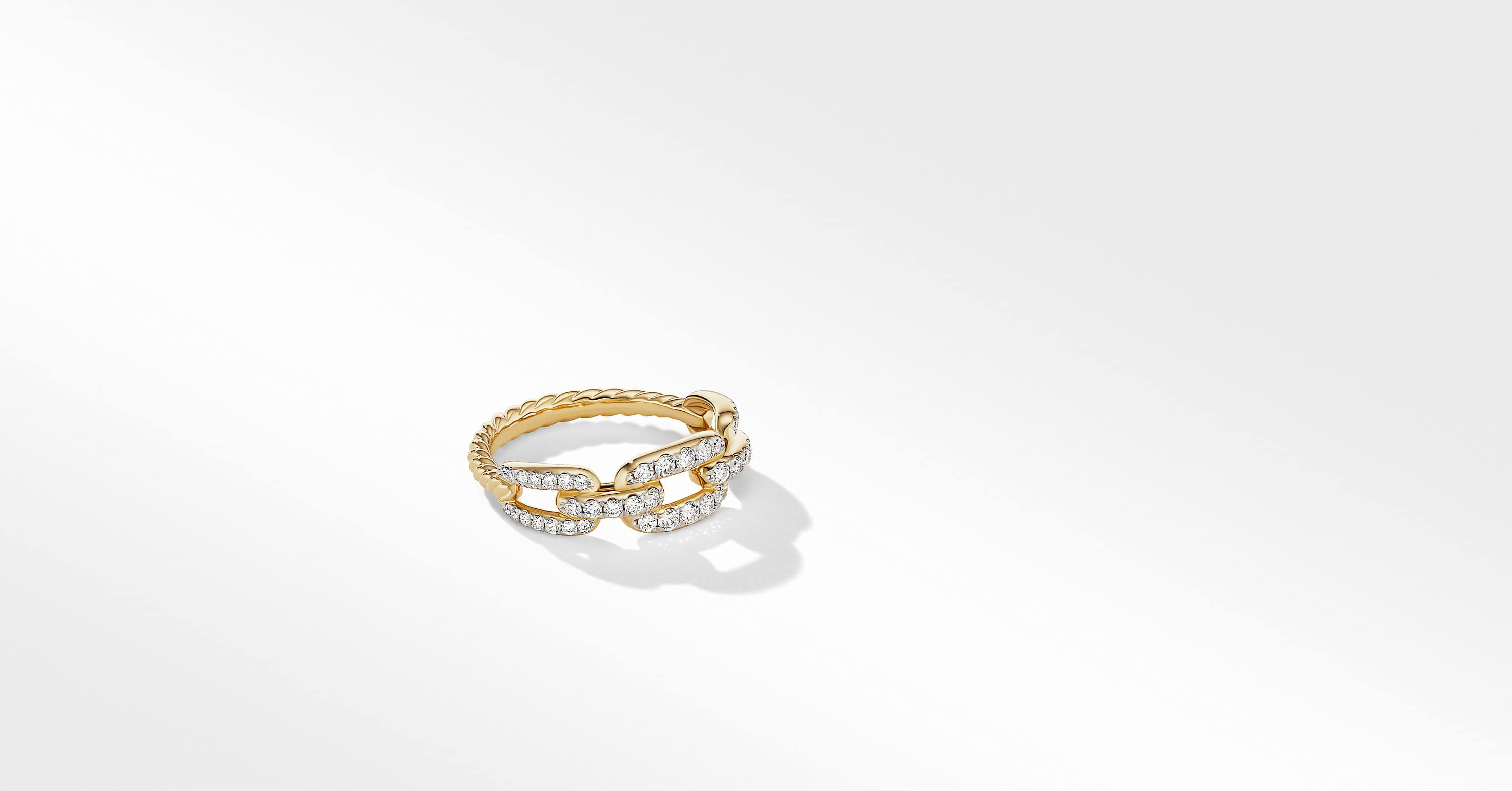 Stax Chain Link Ring in 18K Yellow Gold with Diamonds, 7mm