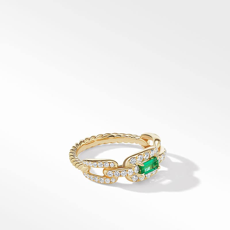 Stax Chain Link Stone Ring in 18K Yellow Gold with Diamonds, 7mm