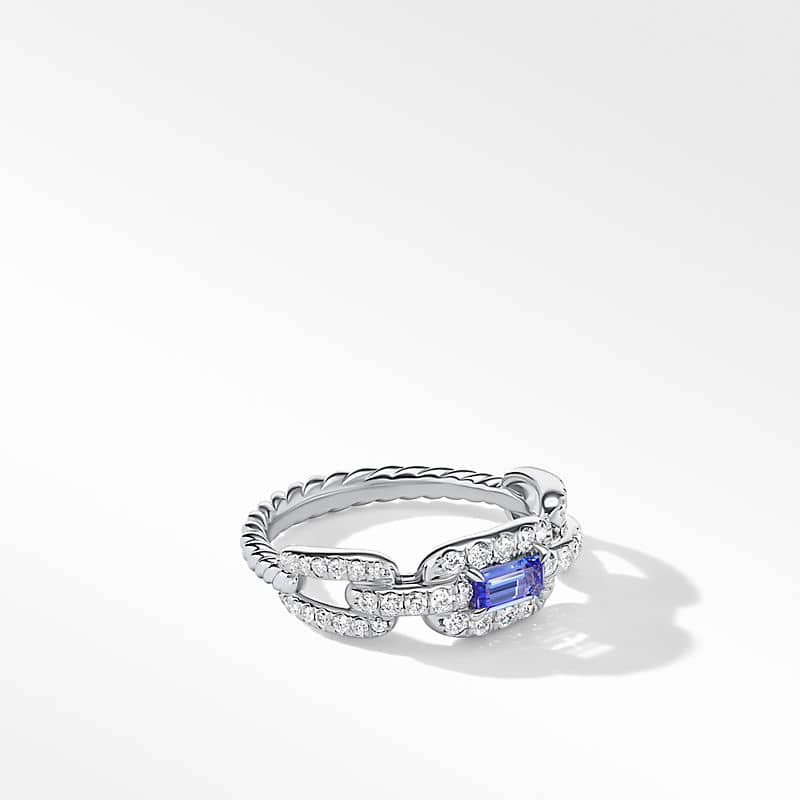 Stax Chain Link Stone Ring in 18K White Gold with Diamonds, 7mm