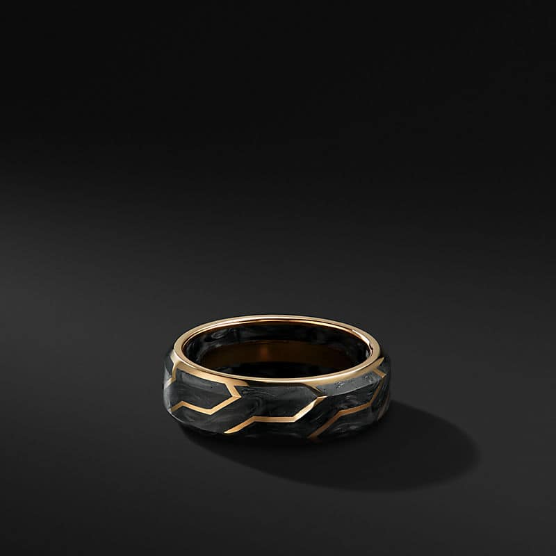 Forged Carbon Band with 18K Gold, 8.5mm