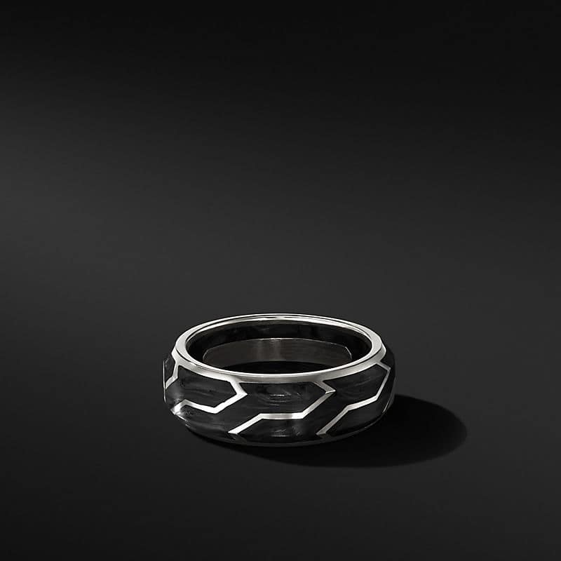 Forged Carbon Band with 18K White Gold, 8.5mm