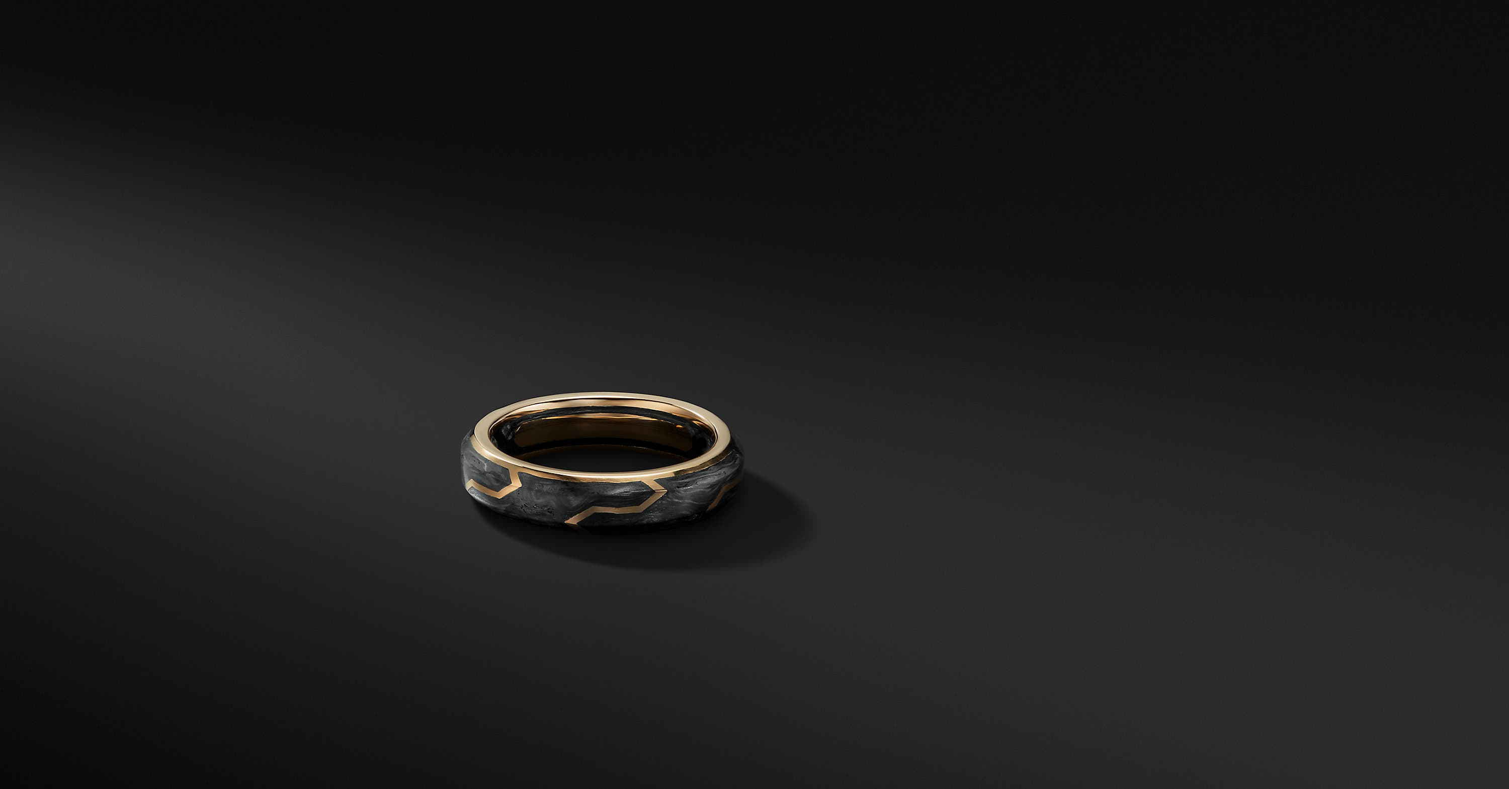 Forged Carbon Band with 18K Gold, 6mm