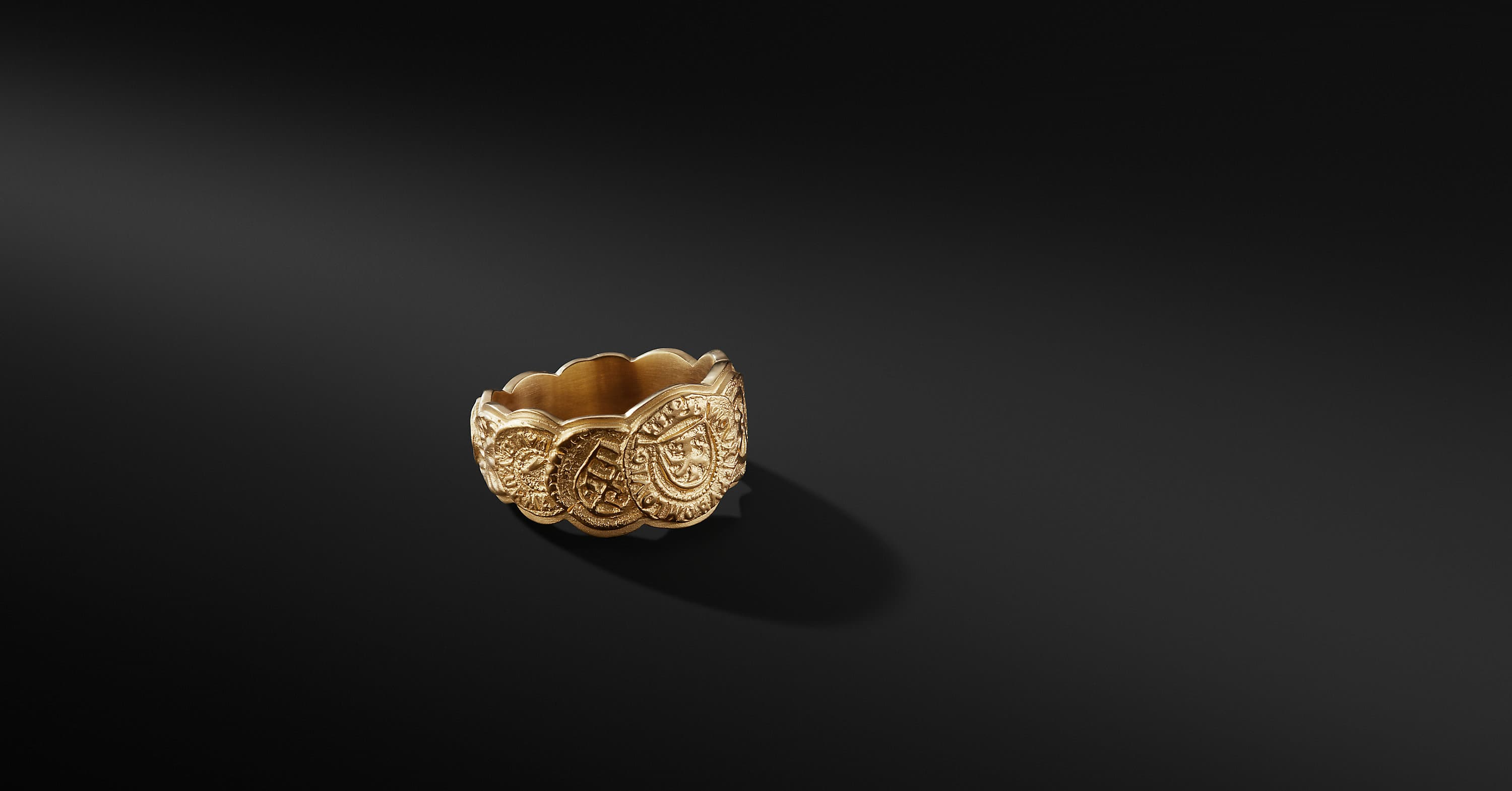 Shipwreck Coin Band Ring in 22K Gold, 12mm