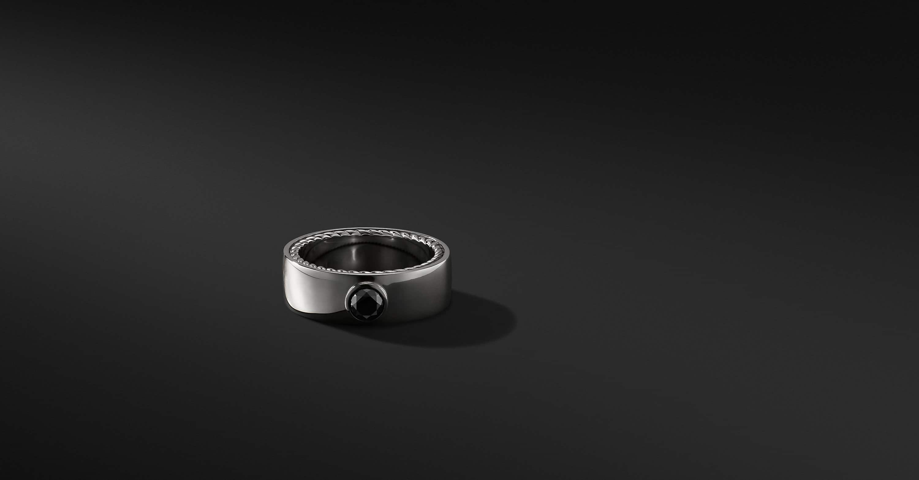 Streamline Band in Sterling Silver with Black Diamond, 8mm