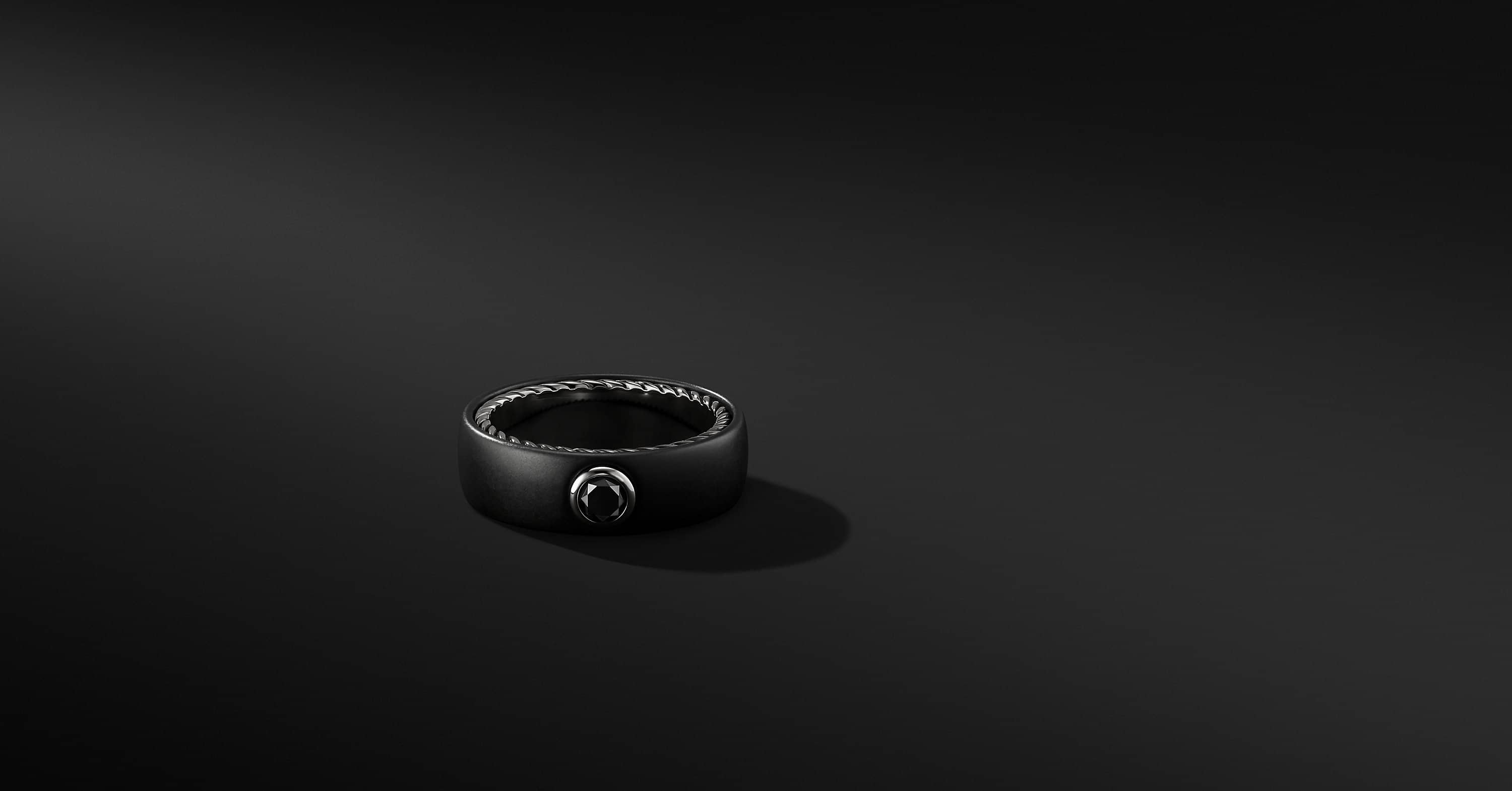 Streamline Band in Black Titanium with Black Diamond, 8mm