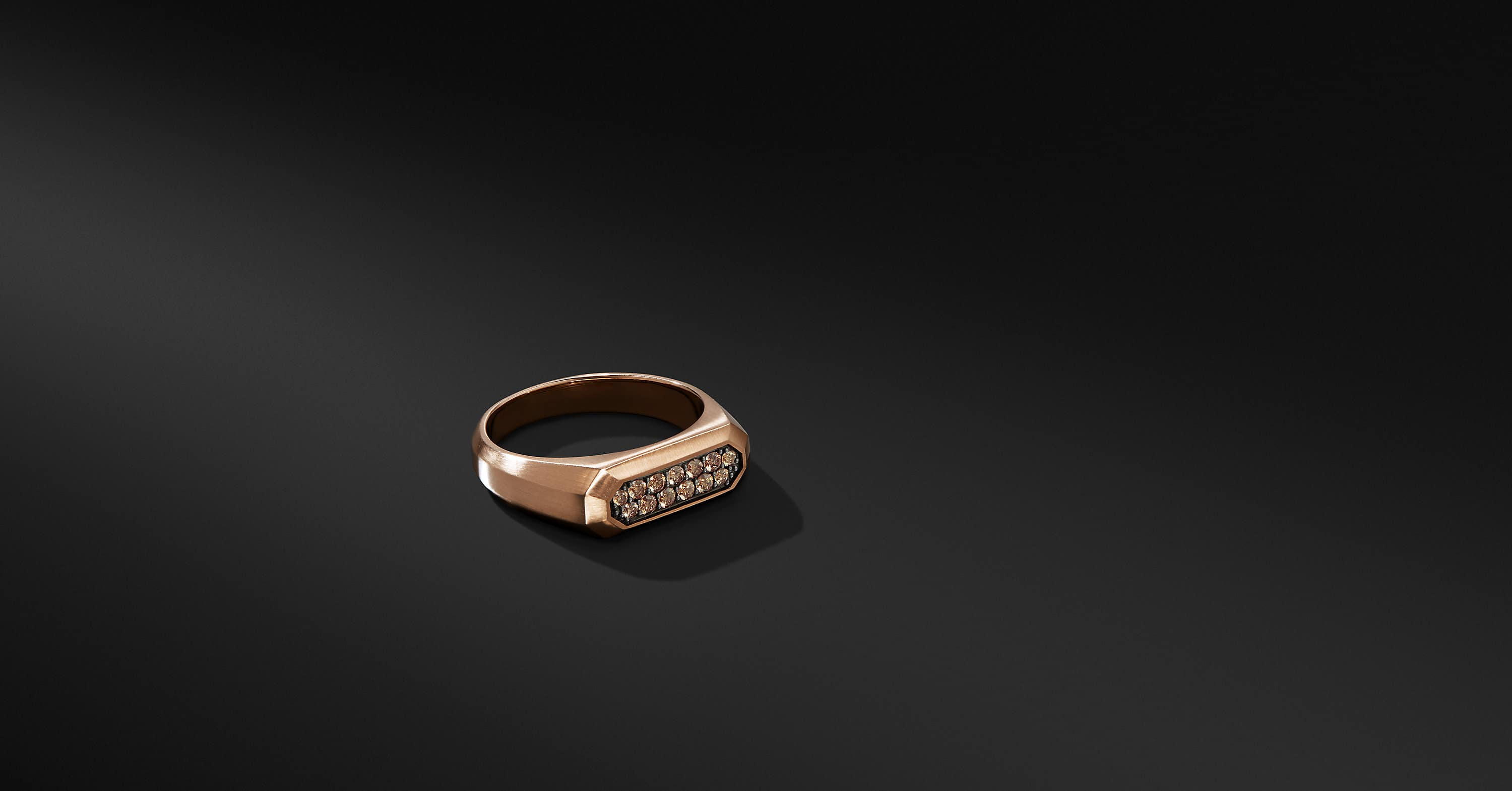 Streamline Signet Ring in 18K Rose Gold with Cognac Diamonds
