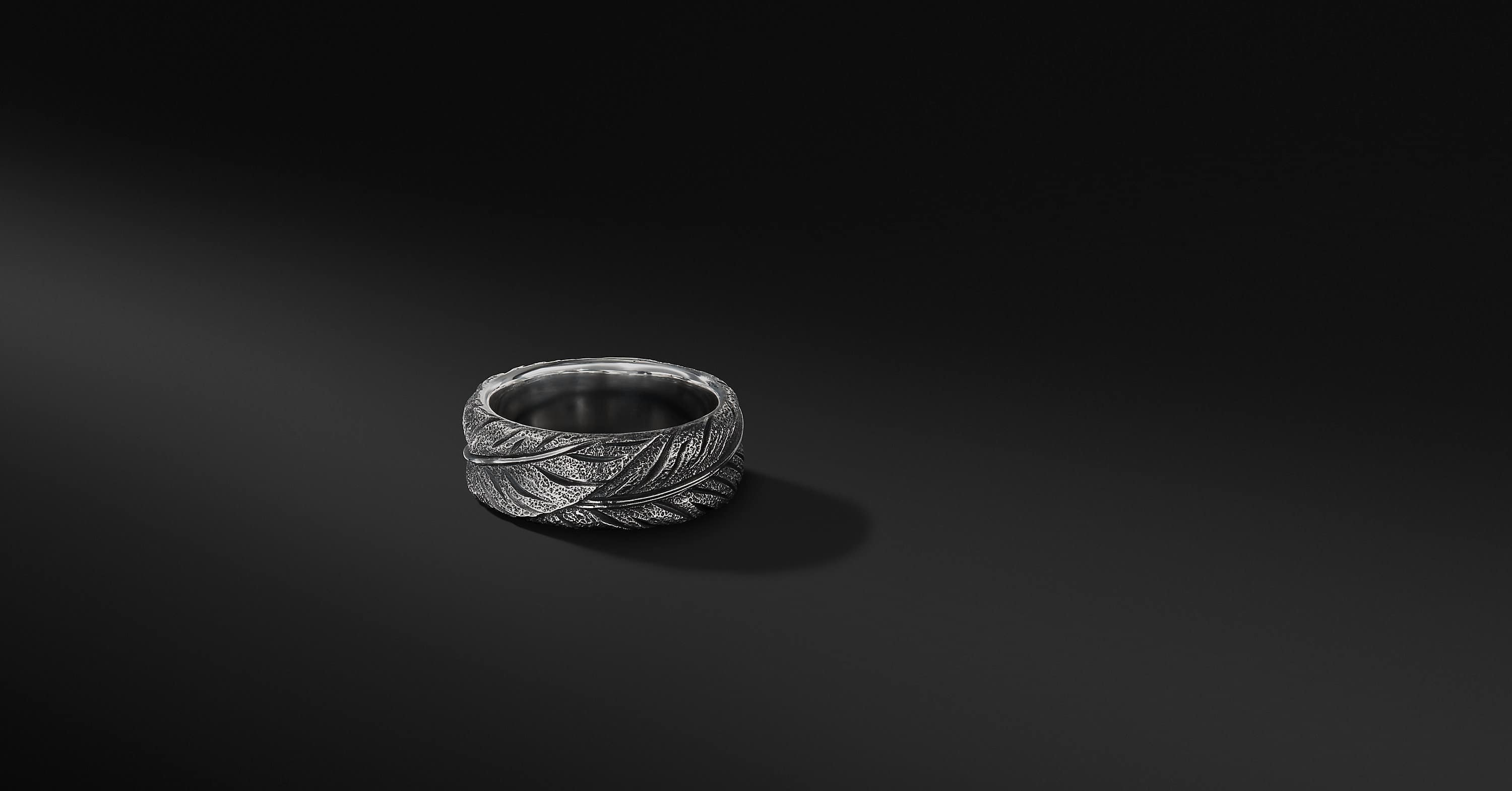 Southwest Feather Band in Sterling Silver, 9mm