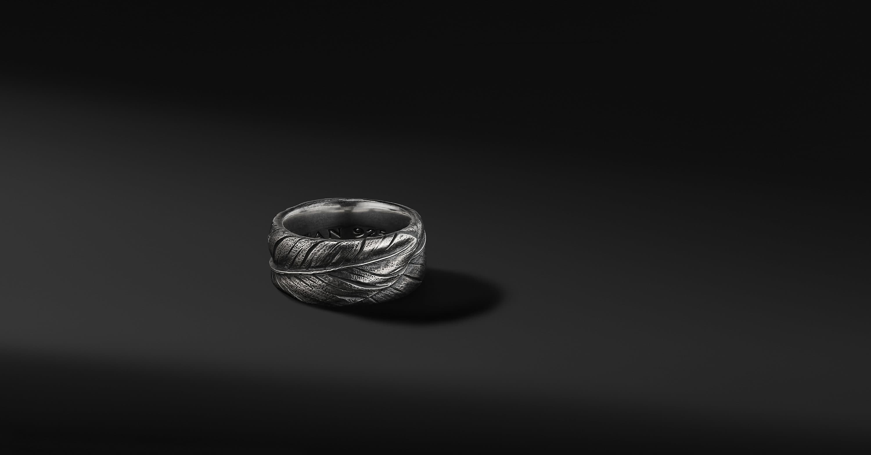 Southwest Feather Band in Sterling Silver, 11mm