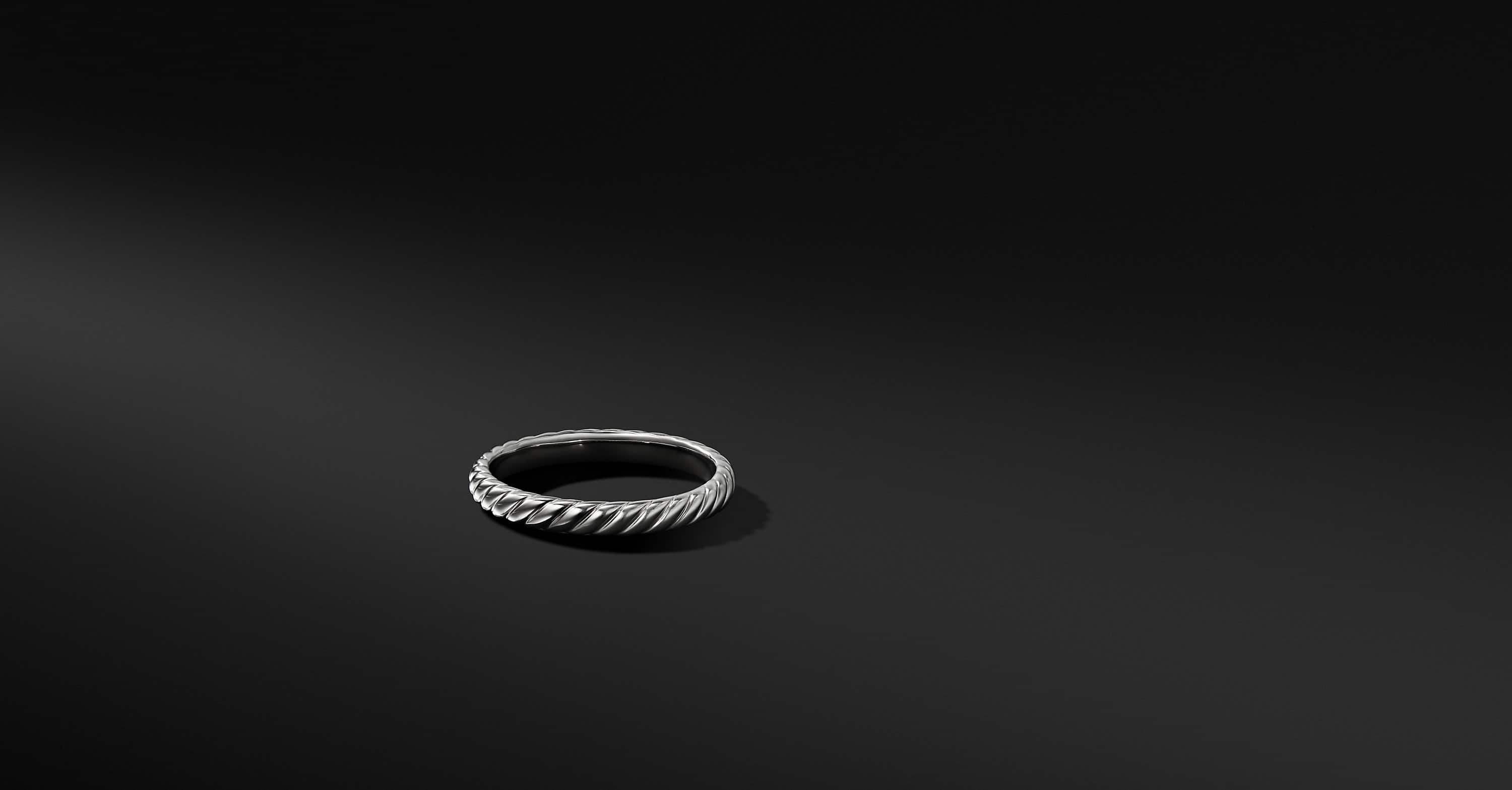 Cable Band in 18K White Gold, 3mm