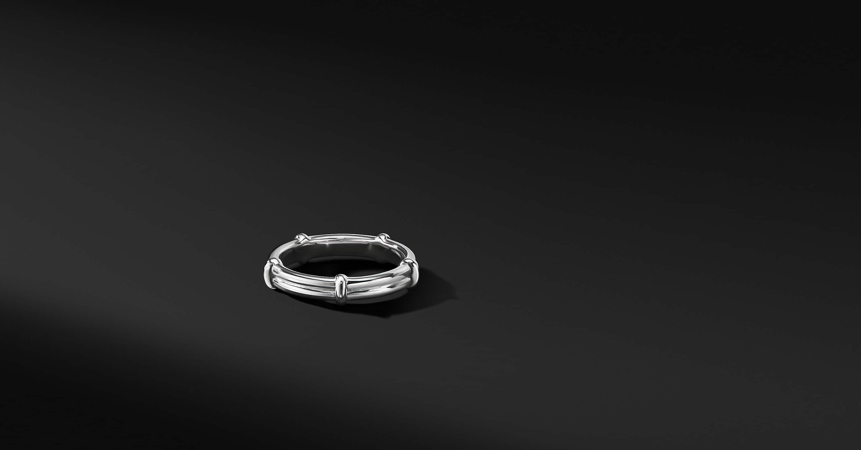 DY Classic Two Row Band in 18K White Gold, 5.5mm