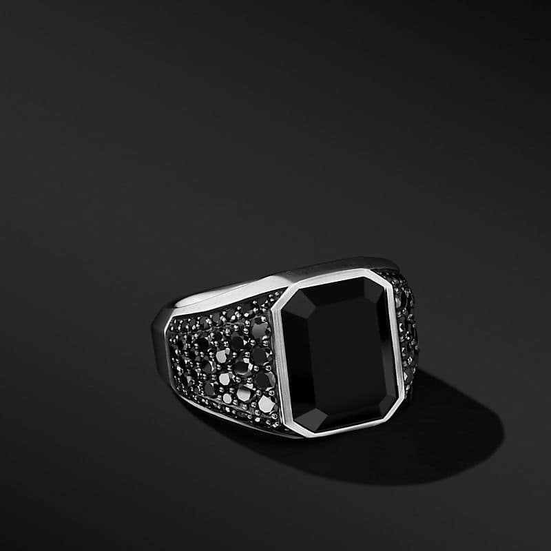 Heirloom Signet Ring with Black Onyx and Pavé