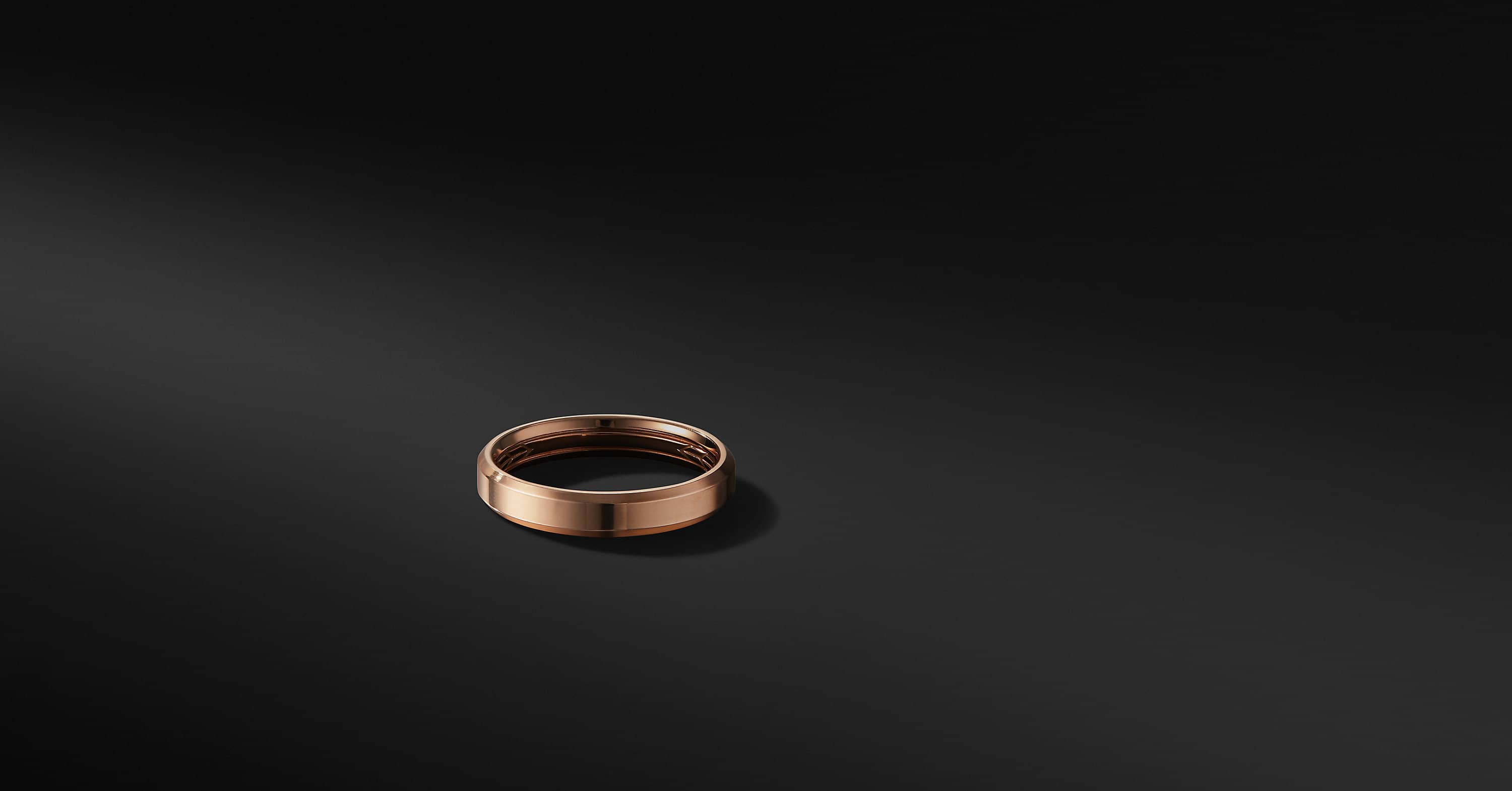 Beveled Band in 18K Rose Gold, 4mm