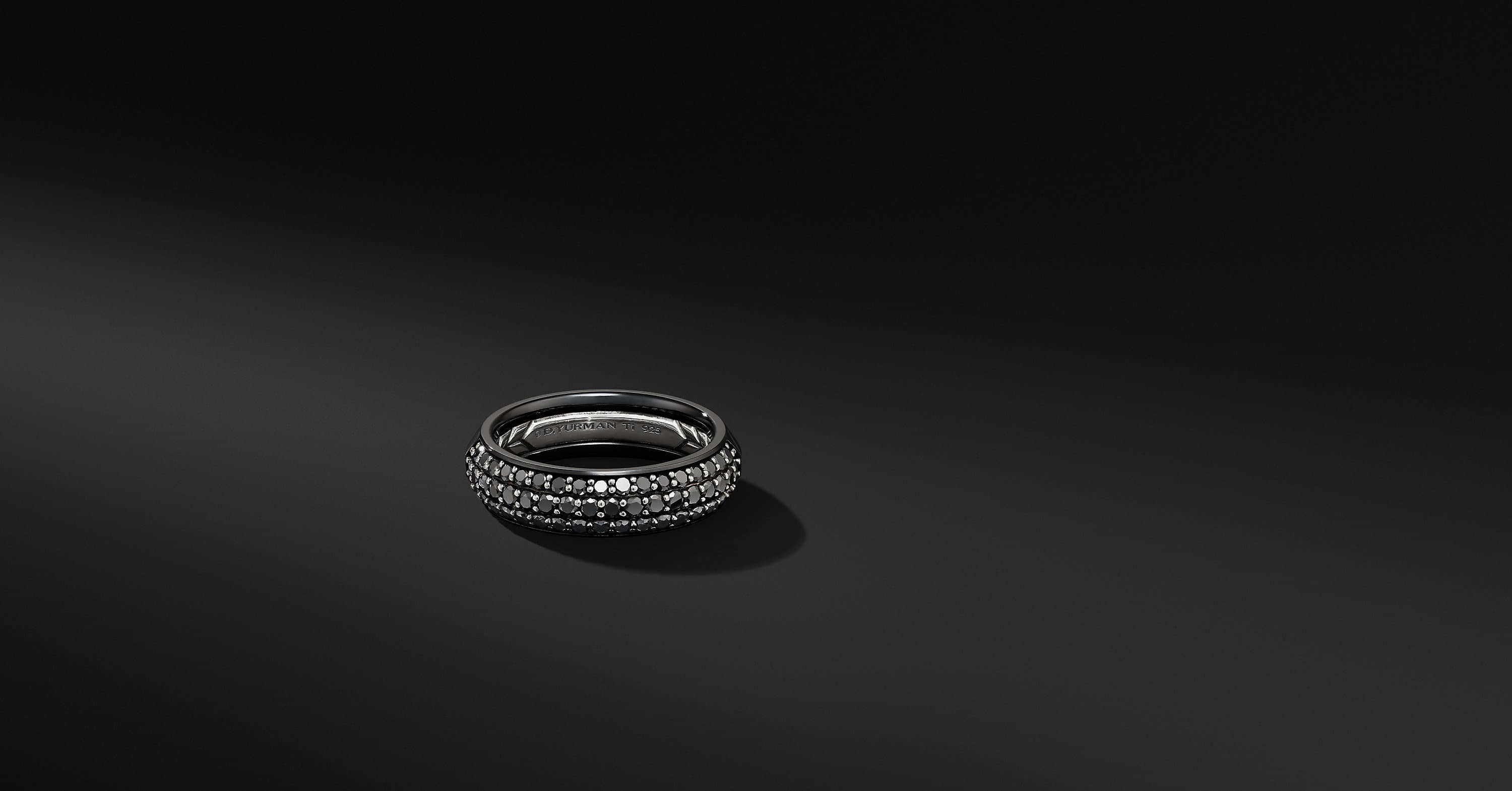 Half Pavé Beveled Band Ring in Black Titanium, 6mm