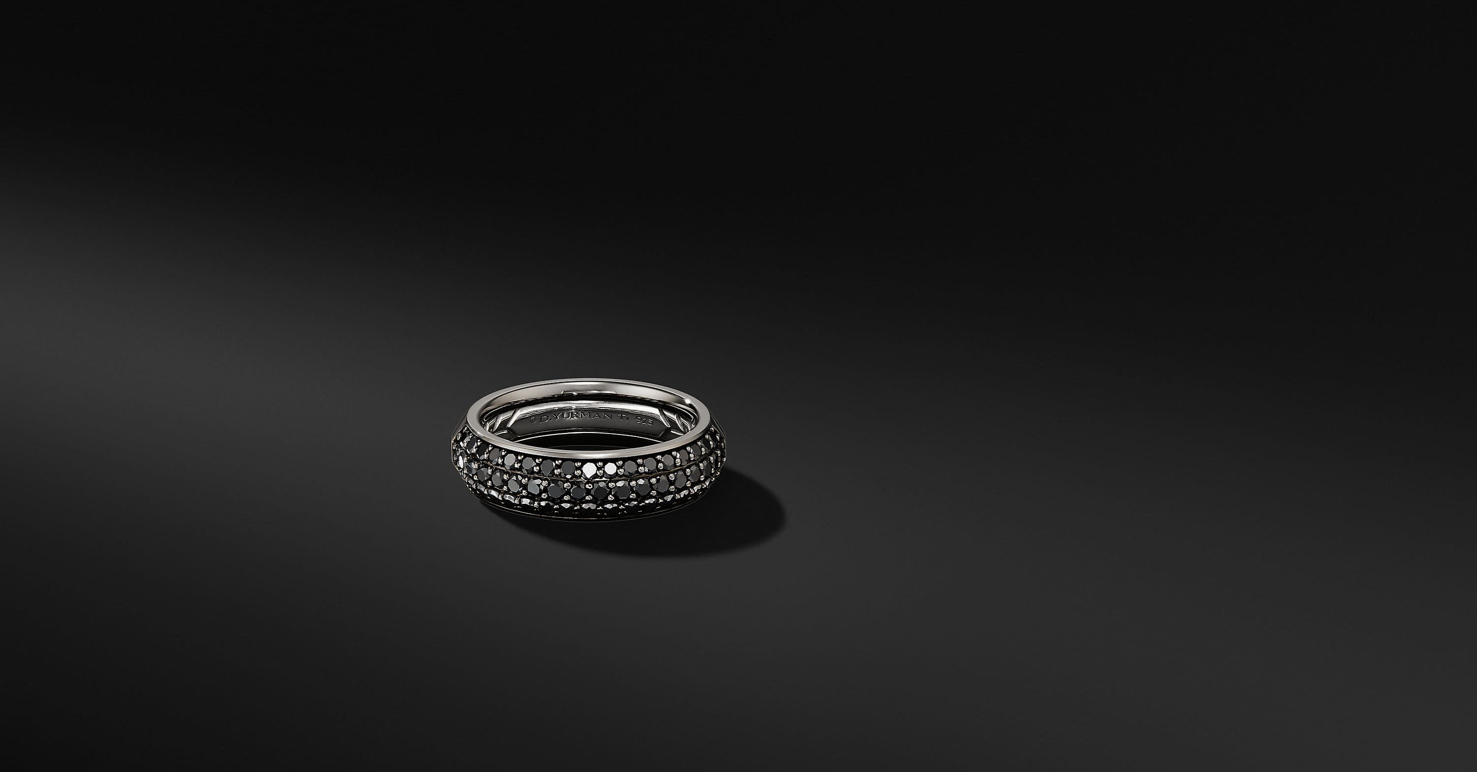 Half Pavé Beveled Band Ring in Grey Titanium, 6mm