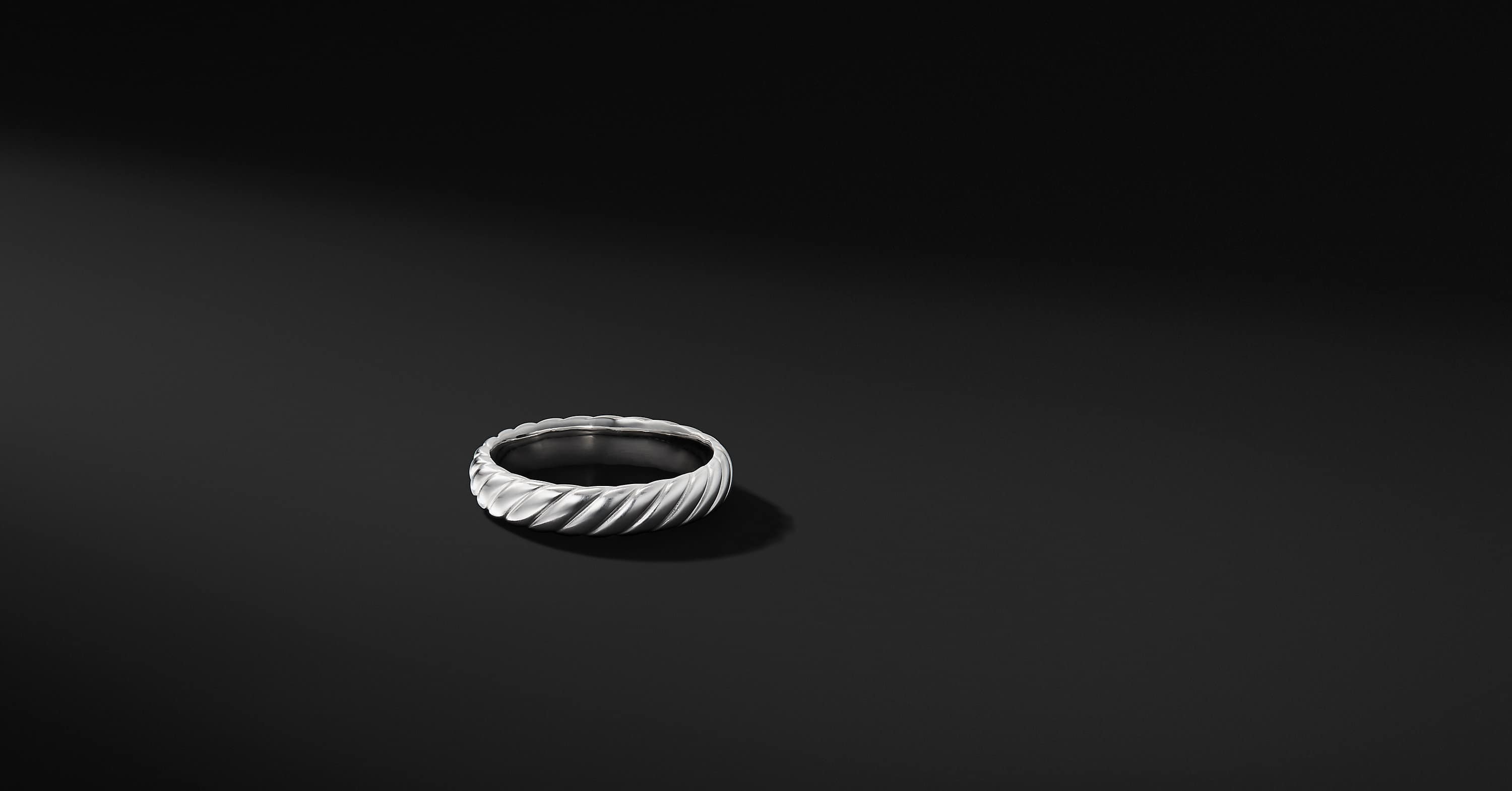 Cable Band in 18K White Gold, 5mm