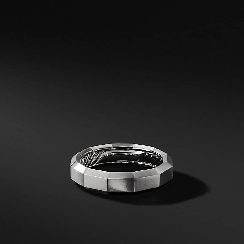 Faceted Band in 18K White Gold