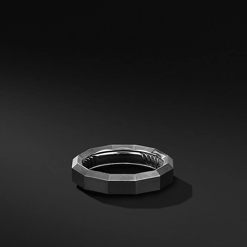 Faceted Band Ring in Black Titanium, 6mm