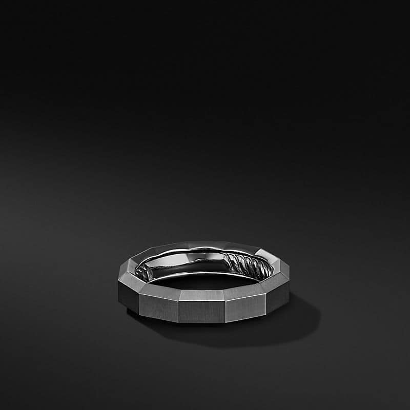 Faceted Band Ring in Grey Titanium, 6mm