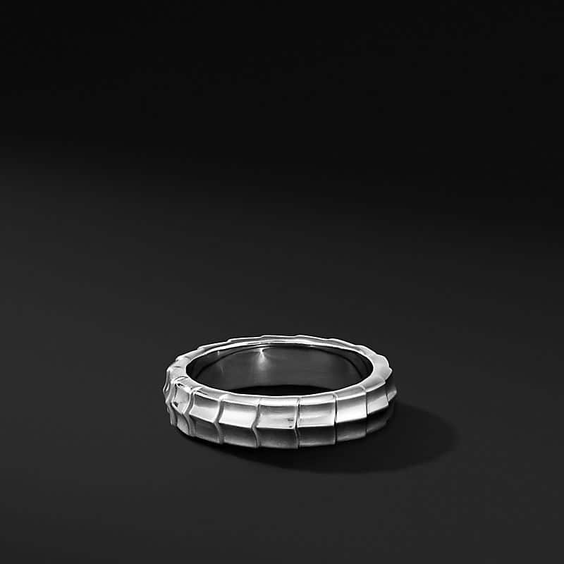 Armory Band Ring in 18K White Gold, 6mm