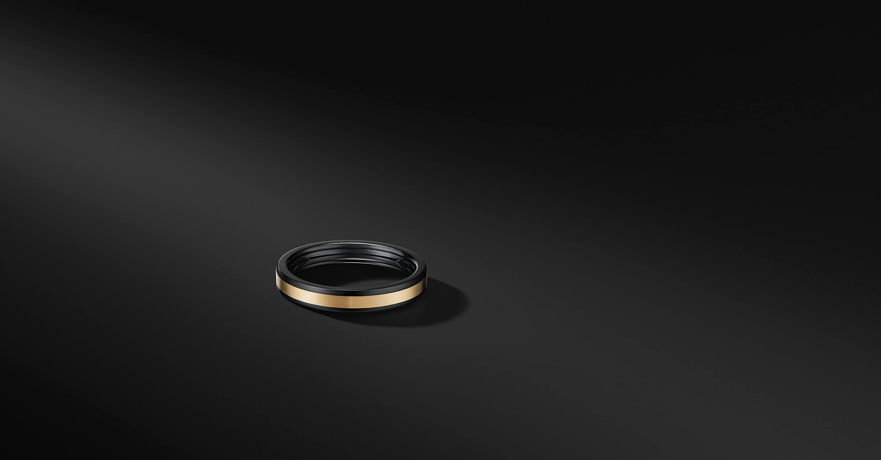 Beveled Band Ring in Black Titanium with 18K Yellow Gold, 4mm