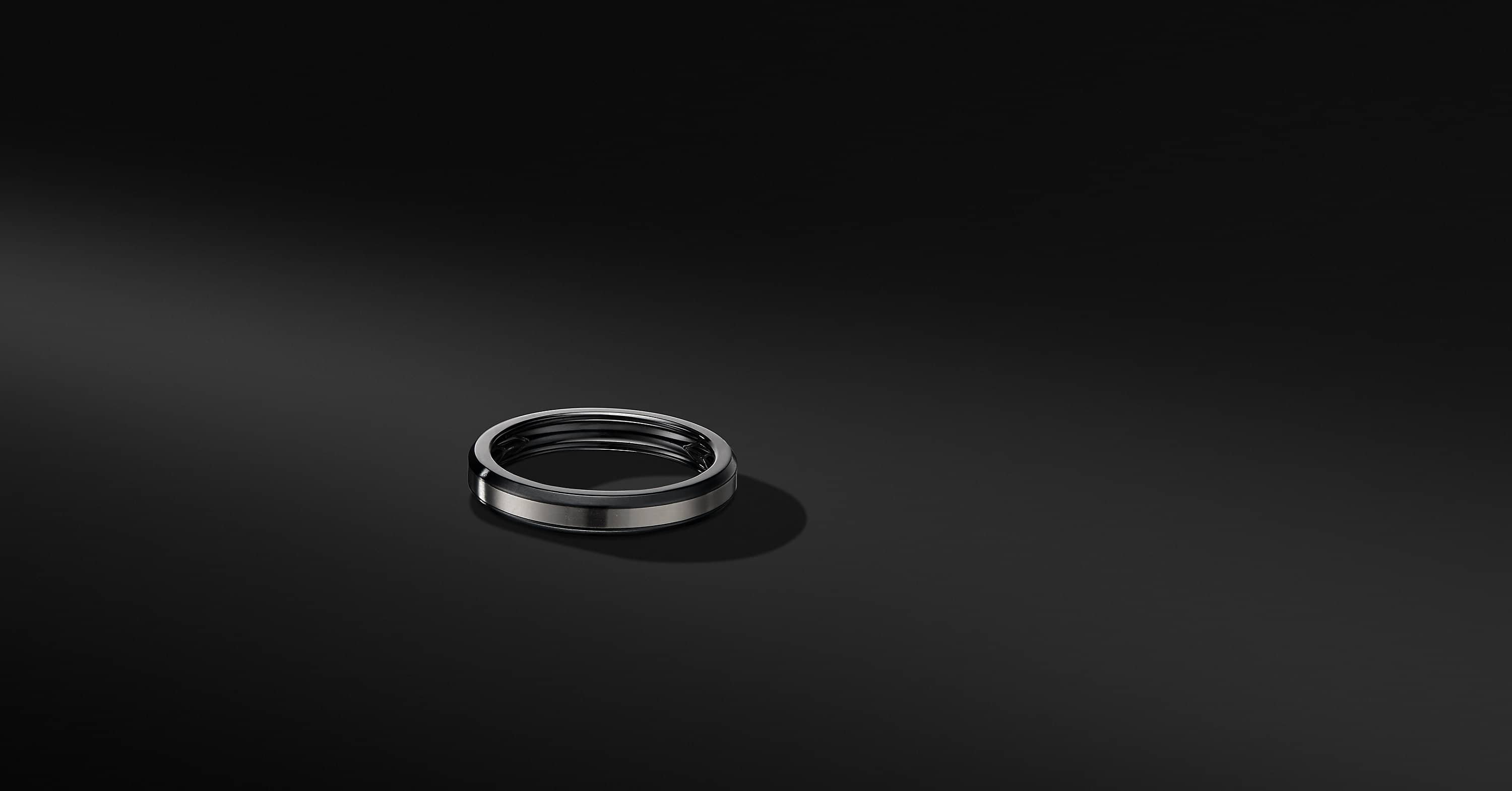 Beveled Band Ring in Black Titanium with Grey Titanium, 4mm