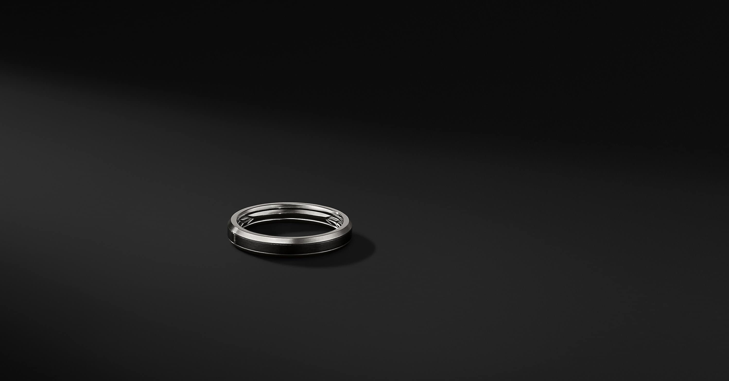 Beveled Band Ring in Grey Titanium with Black Titanium, 4mm
