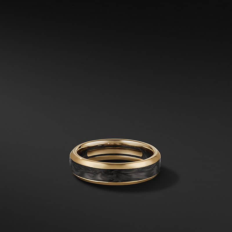 Beveled Band Ring in 18K Yellow Gold, 6mm