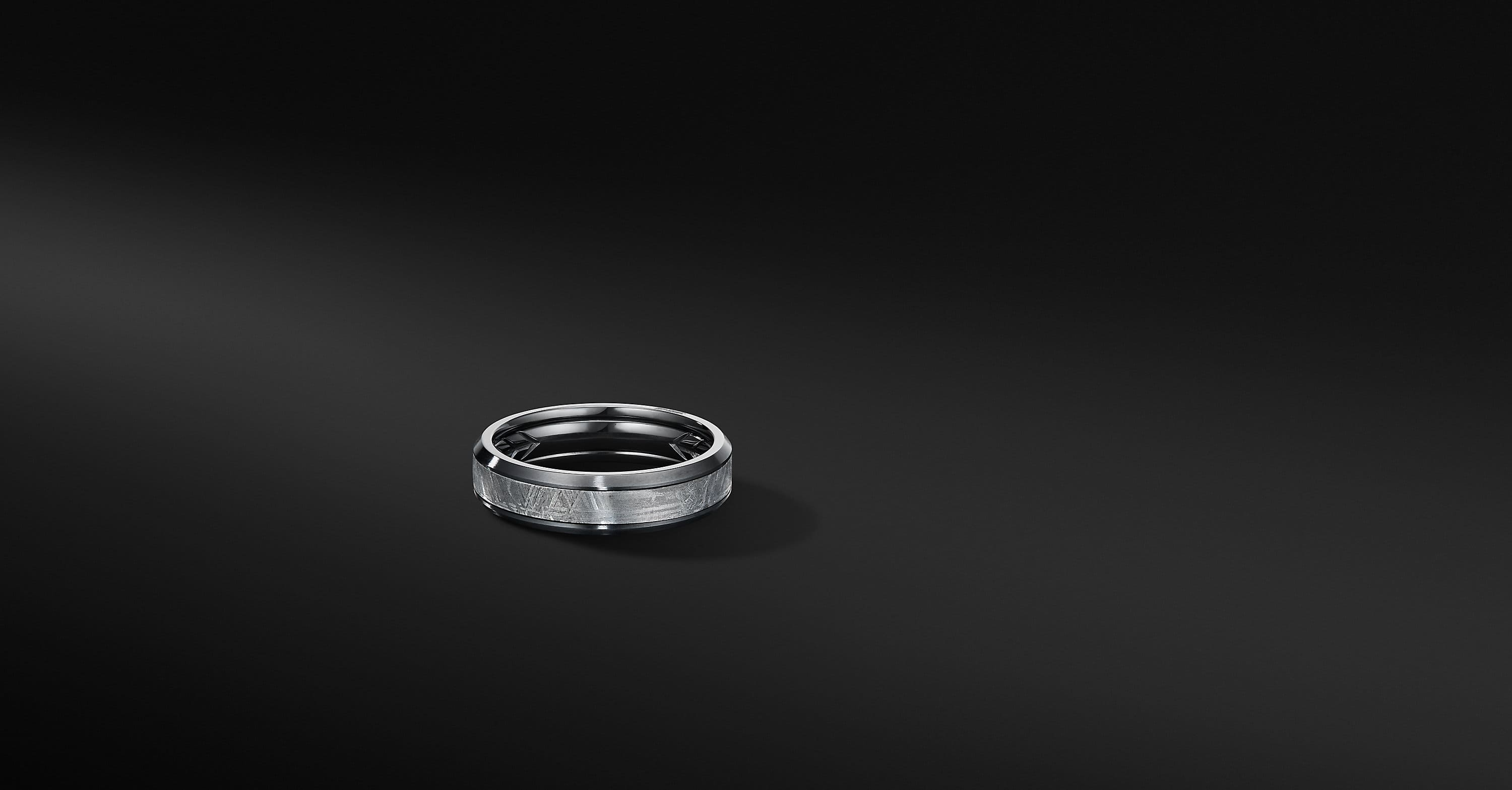 Beveled Band Ring in Black Titanium, 6mm
