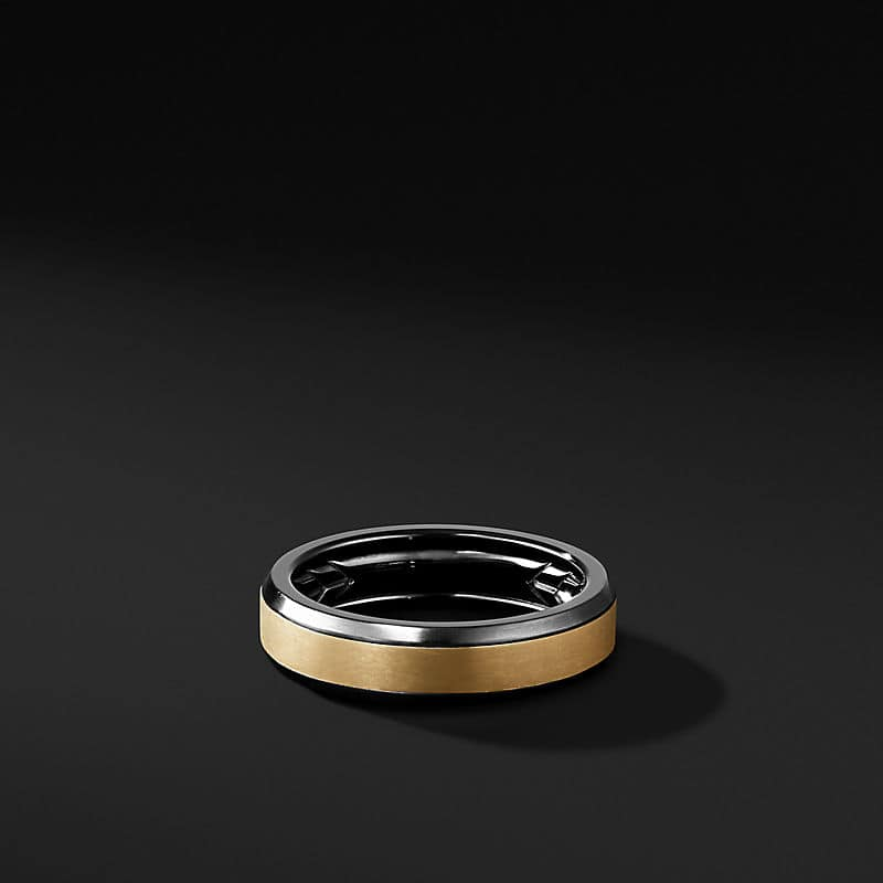 Beveled Band Ring in Black Titanium with 18K Yellow Gold, 6mm