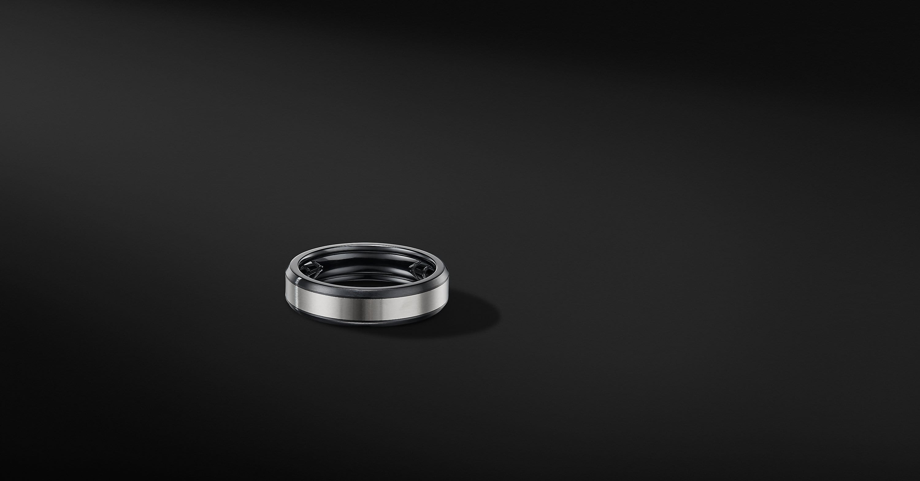 Beveled Band Ring in Black Titanium with Grey Titanium, 6mm