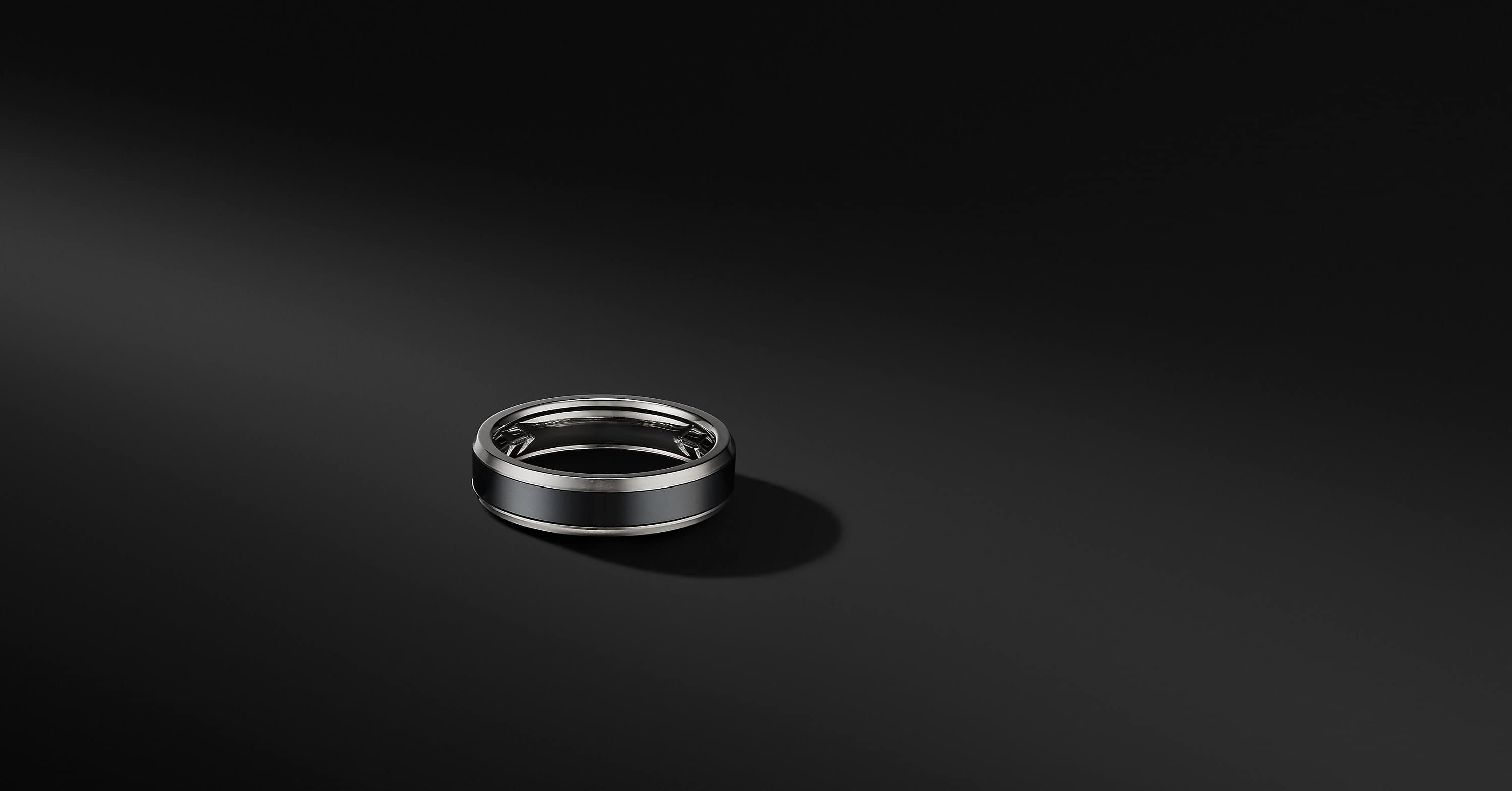 Beveled Band Ring in Grey Titanium with Black Titanium, 6mm