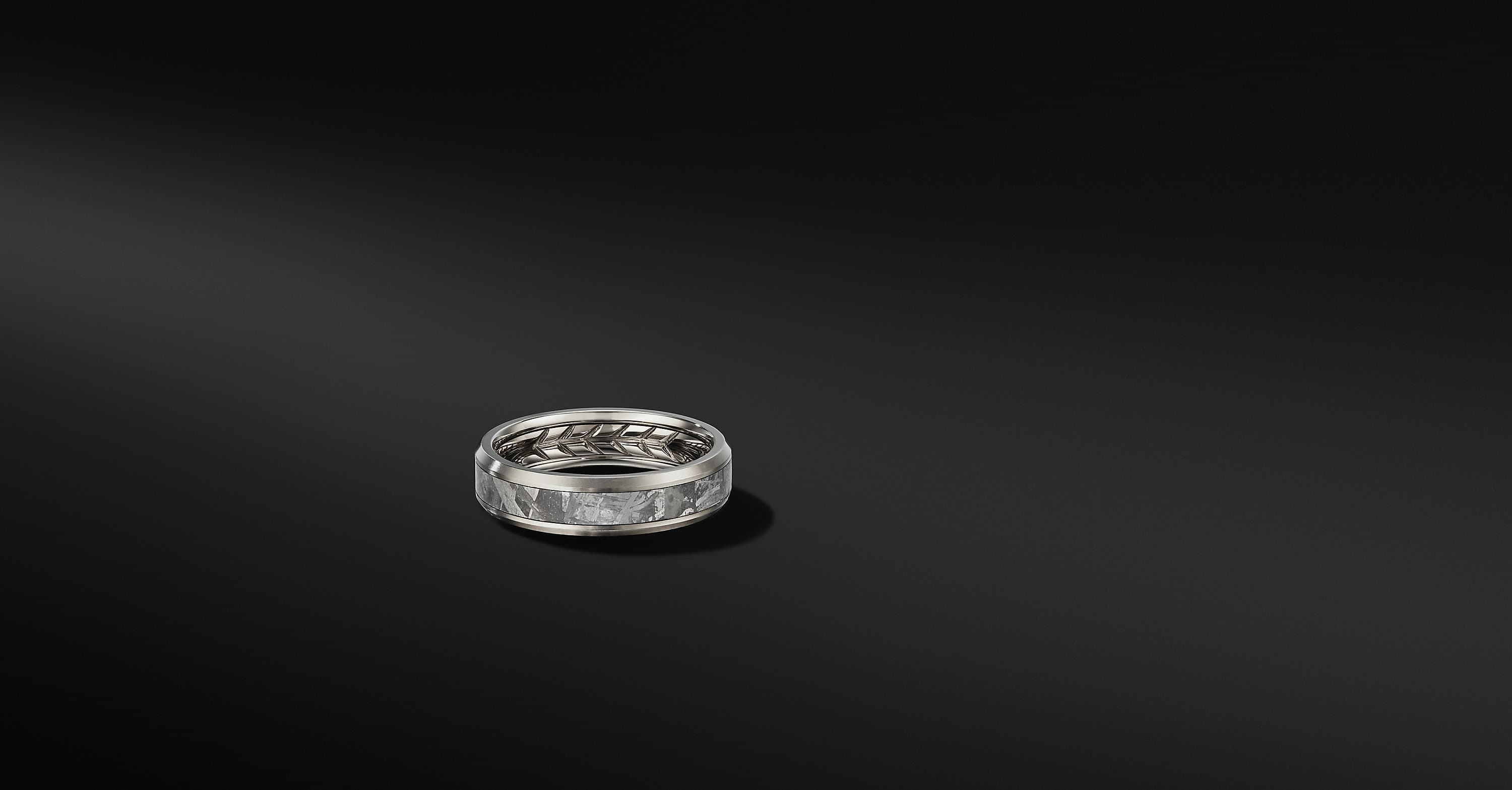 Beveled Band Ring in Grey Titanium, 6mm