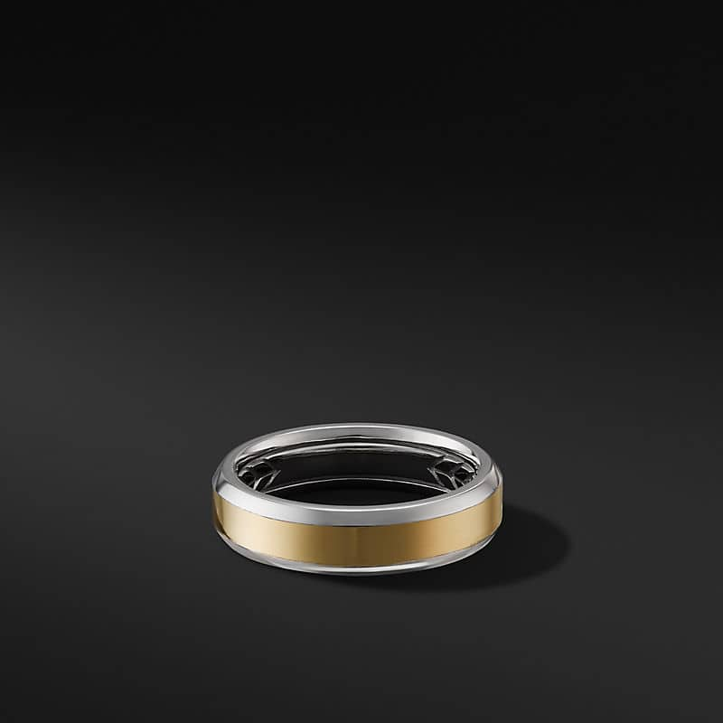 Beveled Band Ring in 18K White and Yellow Gold, 6mm