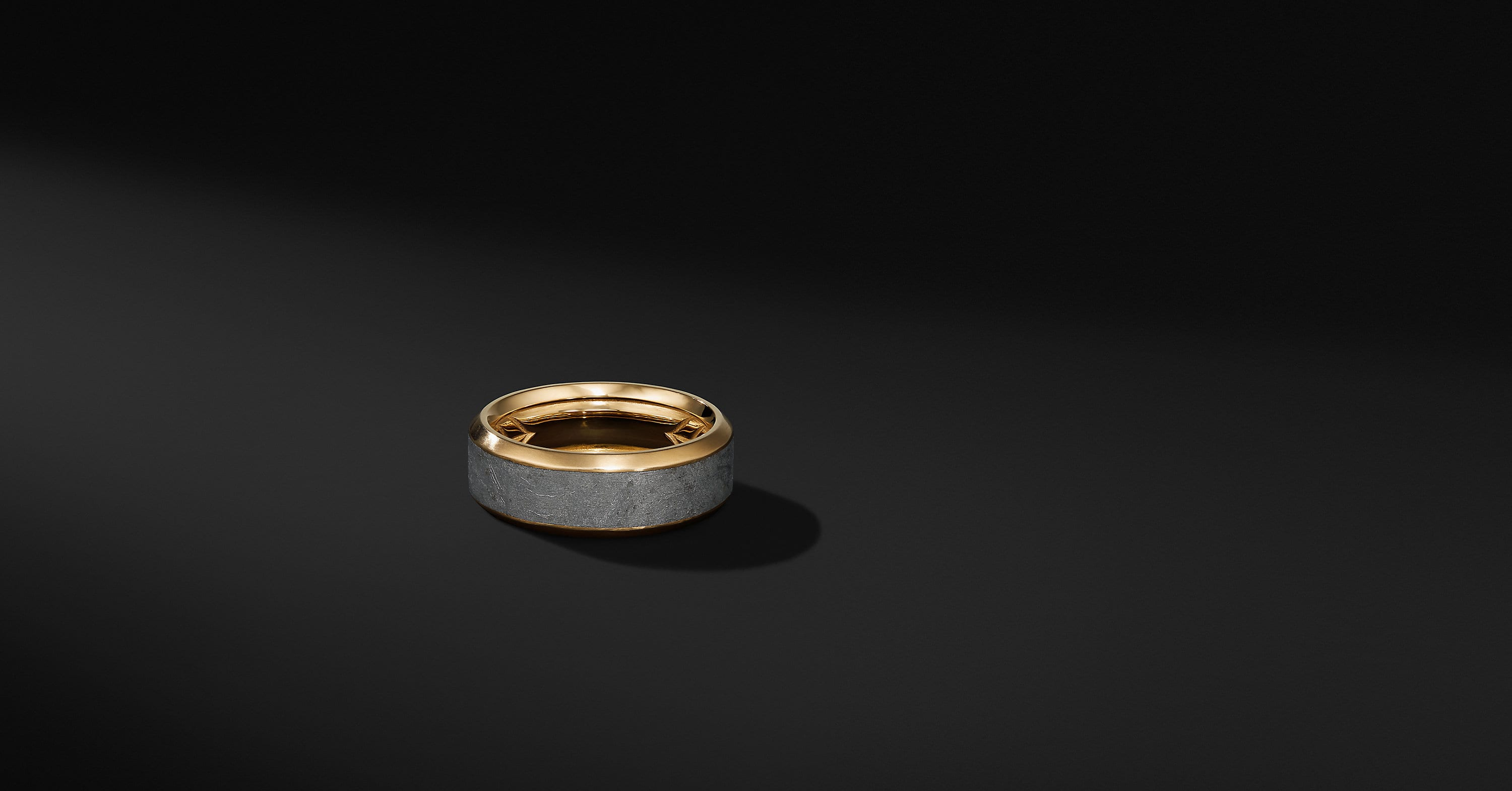 Beveled Meteorite Band Ring with 18K Yellow Gold, 8mm