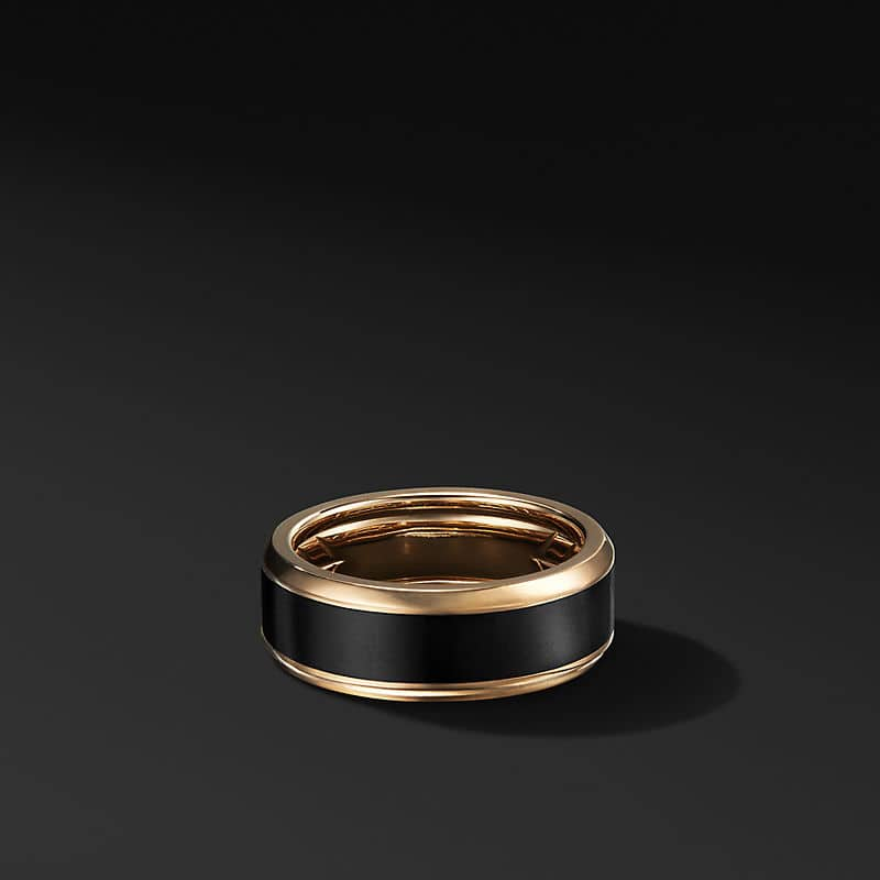 Beveled Band in 18K Yellow Gold with Black Titanium, 8.5mm