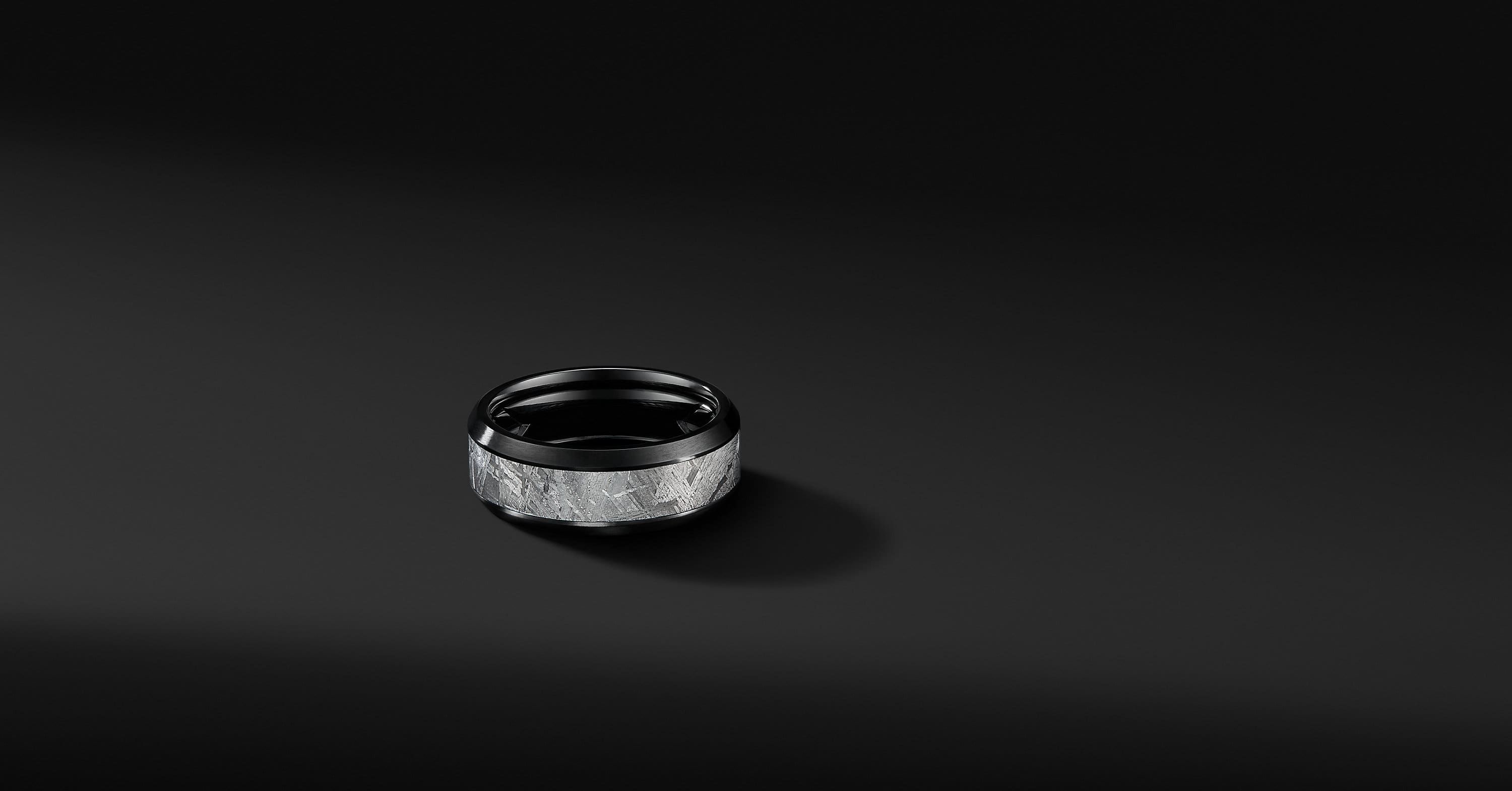Beveled Band Ring in Black Titanium, 8.5mm