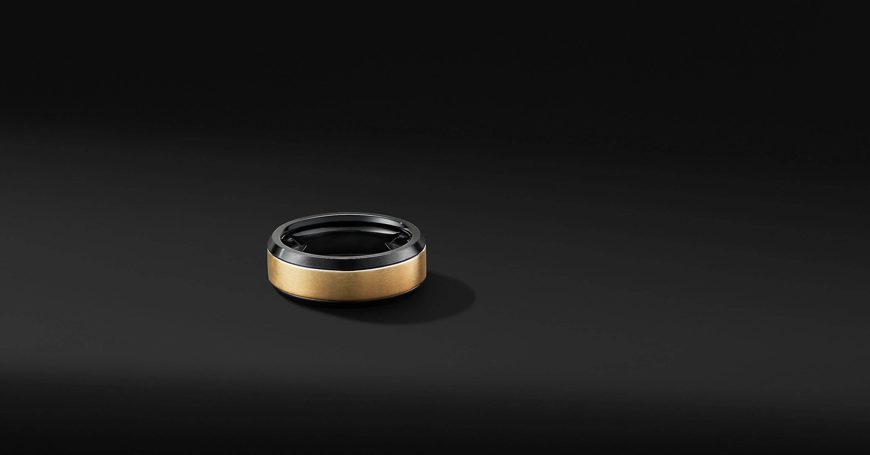 Beveled Band Ring in Black Titanium with 18K Yellow Gold, 8mm