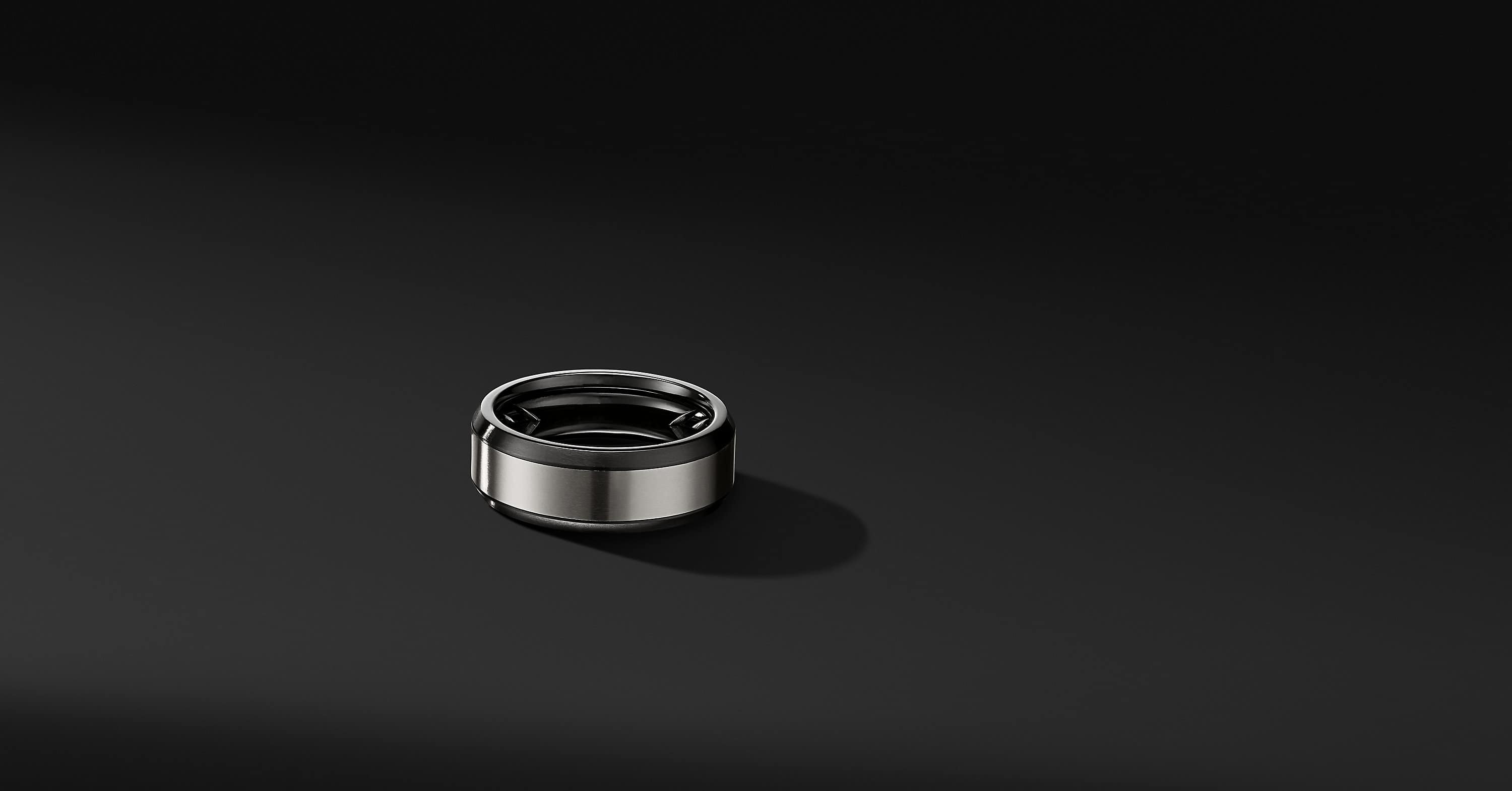 Beveled Band Ring in Black Titanium with Grey Titanium, 8mm