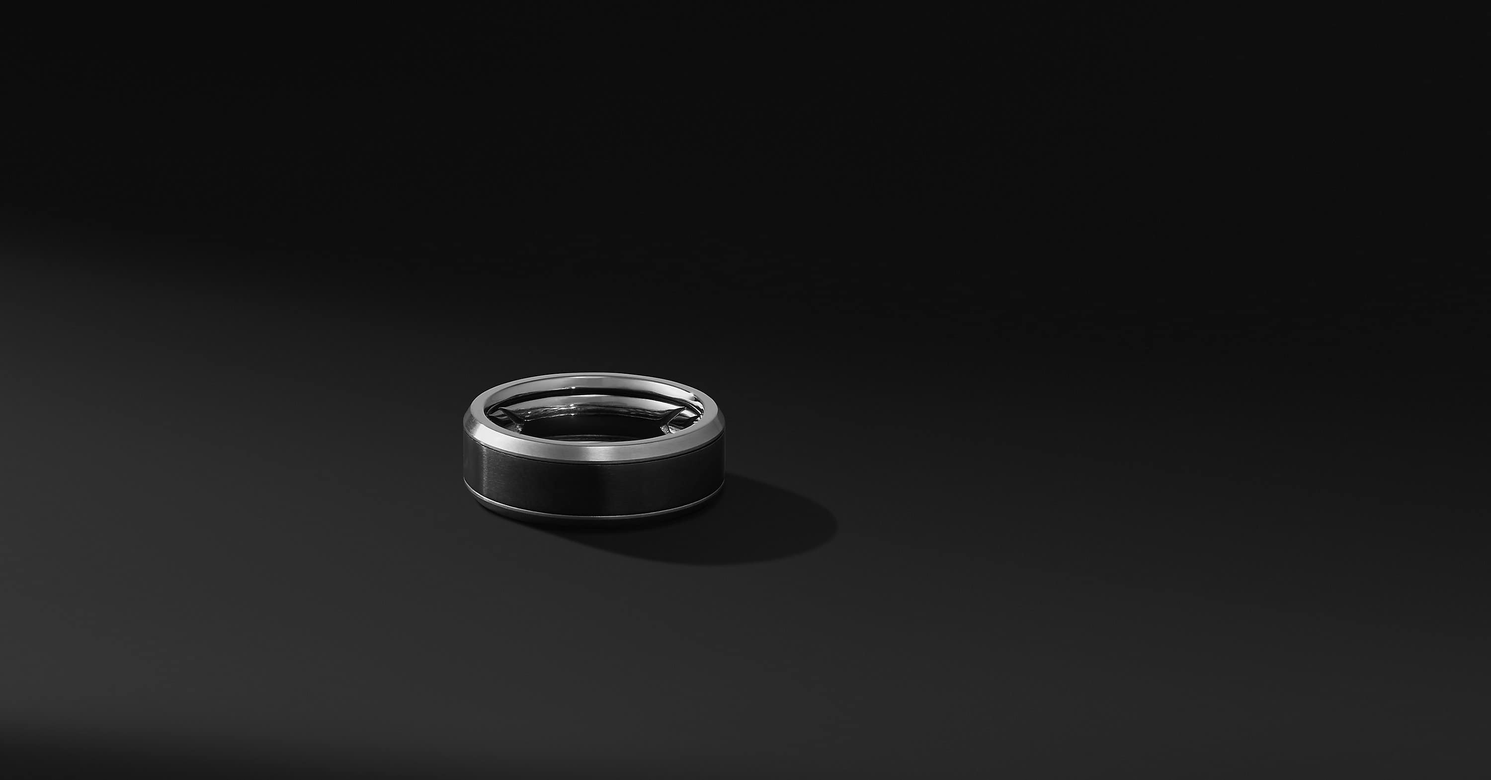 Beveled Band Ring in Grey Titanium with Black Titanium, 8mm