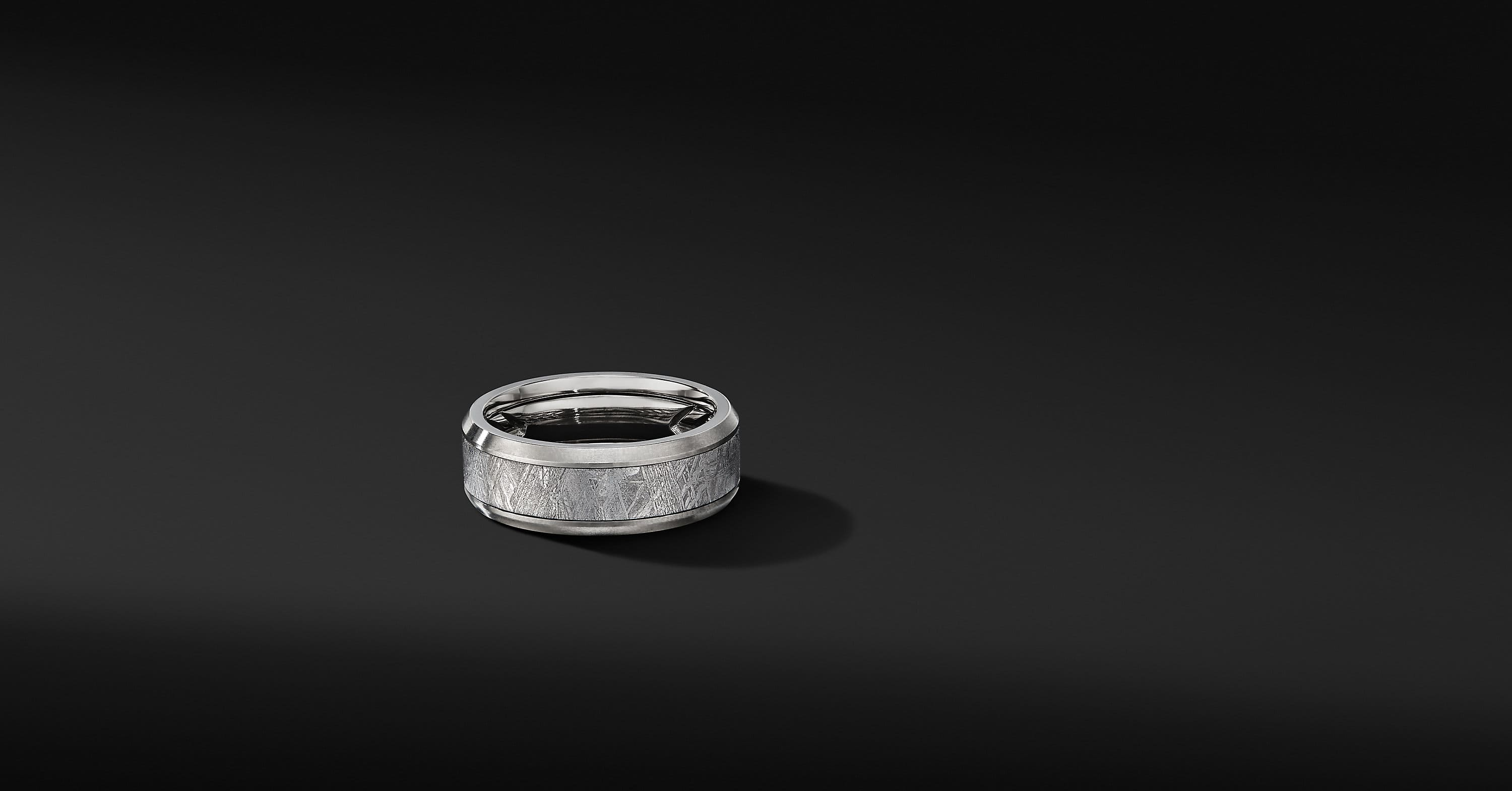 Beveled Band Ring in Grey Titanium, 8.5mm