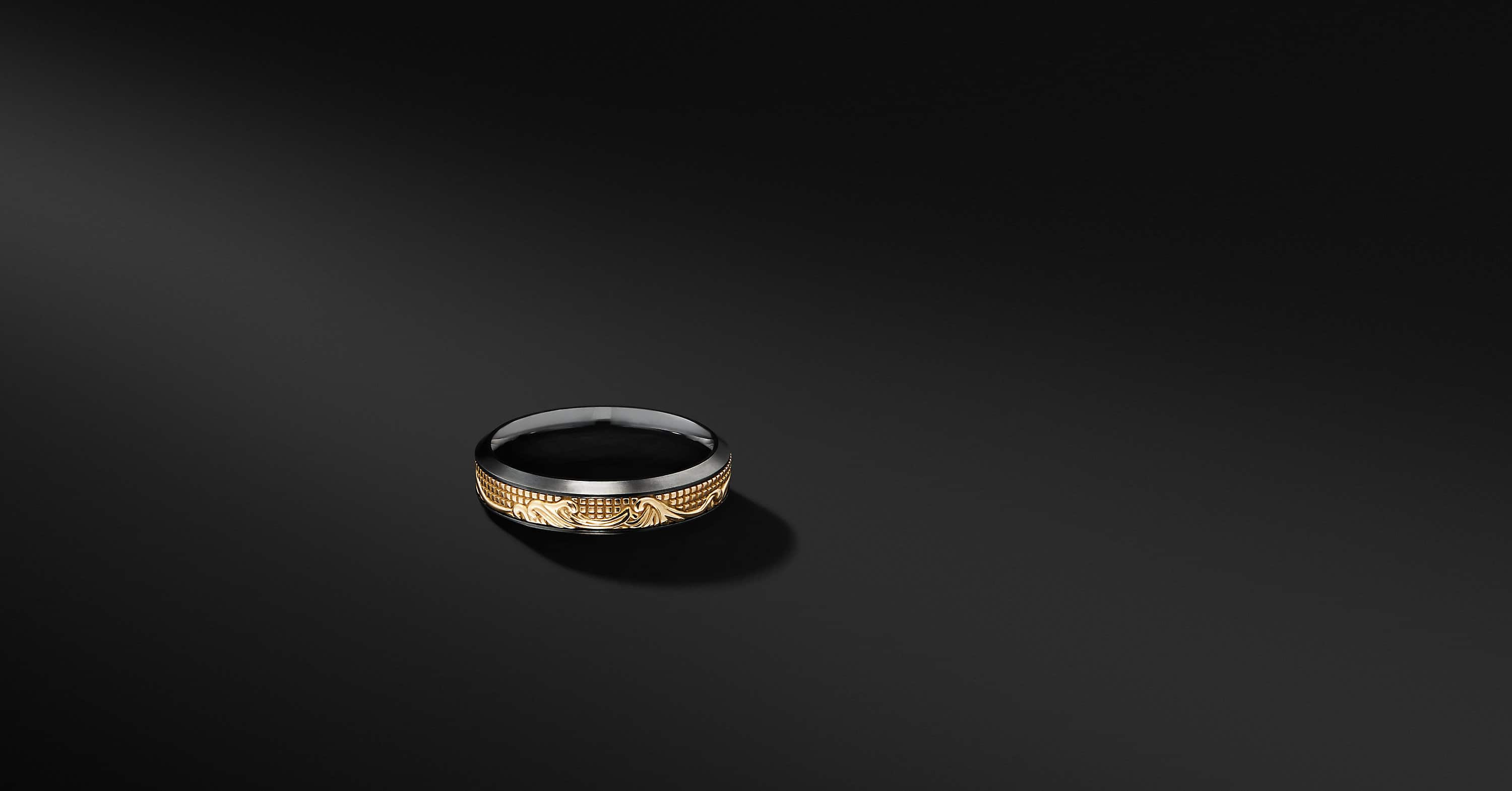 Waves Band Ring in Black Titanium with 18K Yellow Gold, 6mm