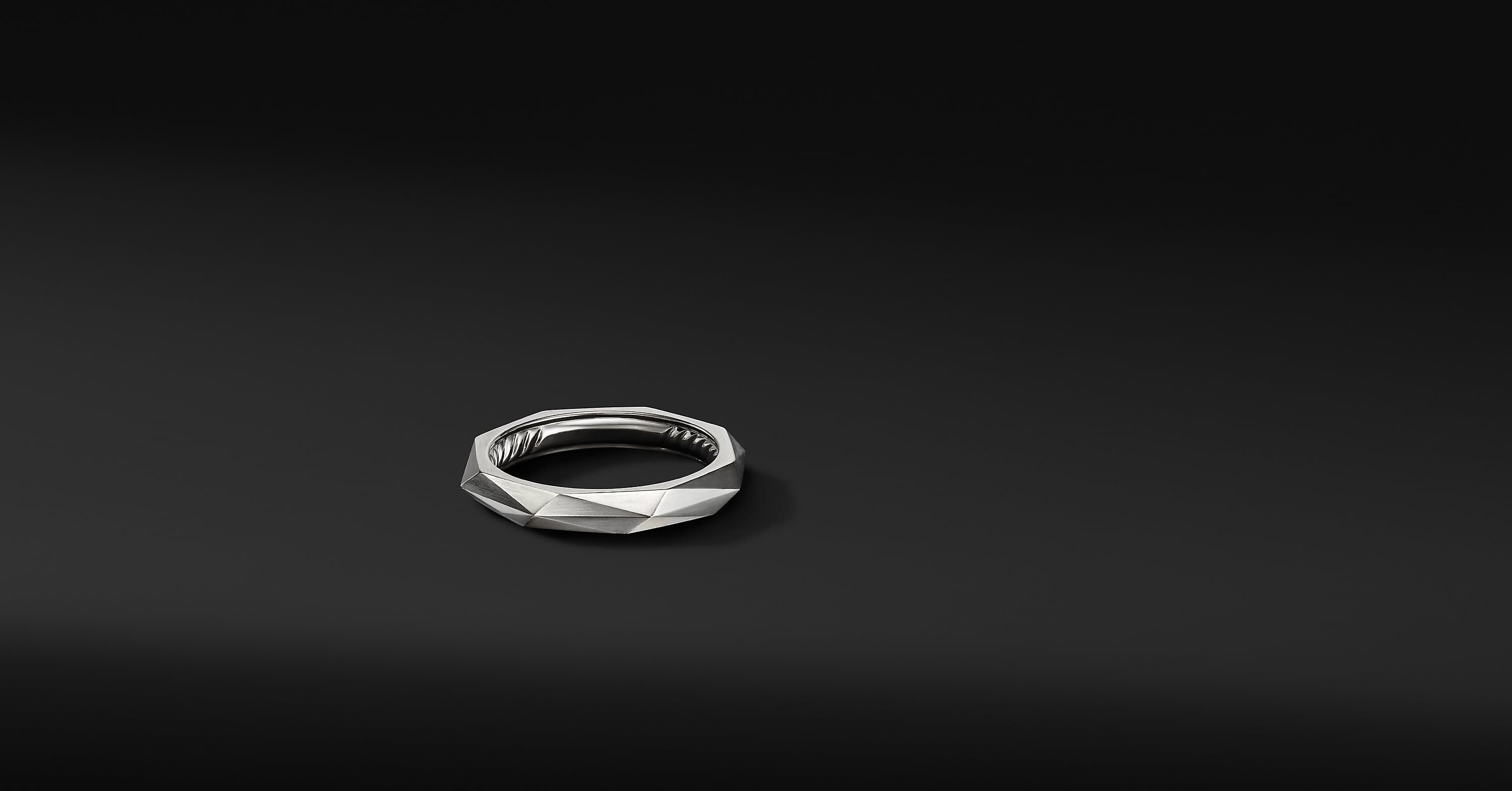 Torqued Faceted Band Ring in Platinum, 4mm