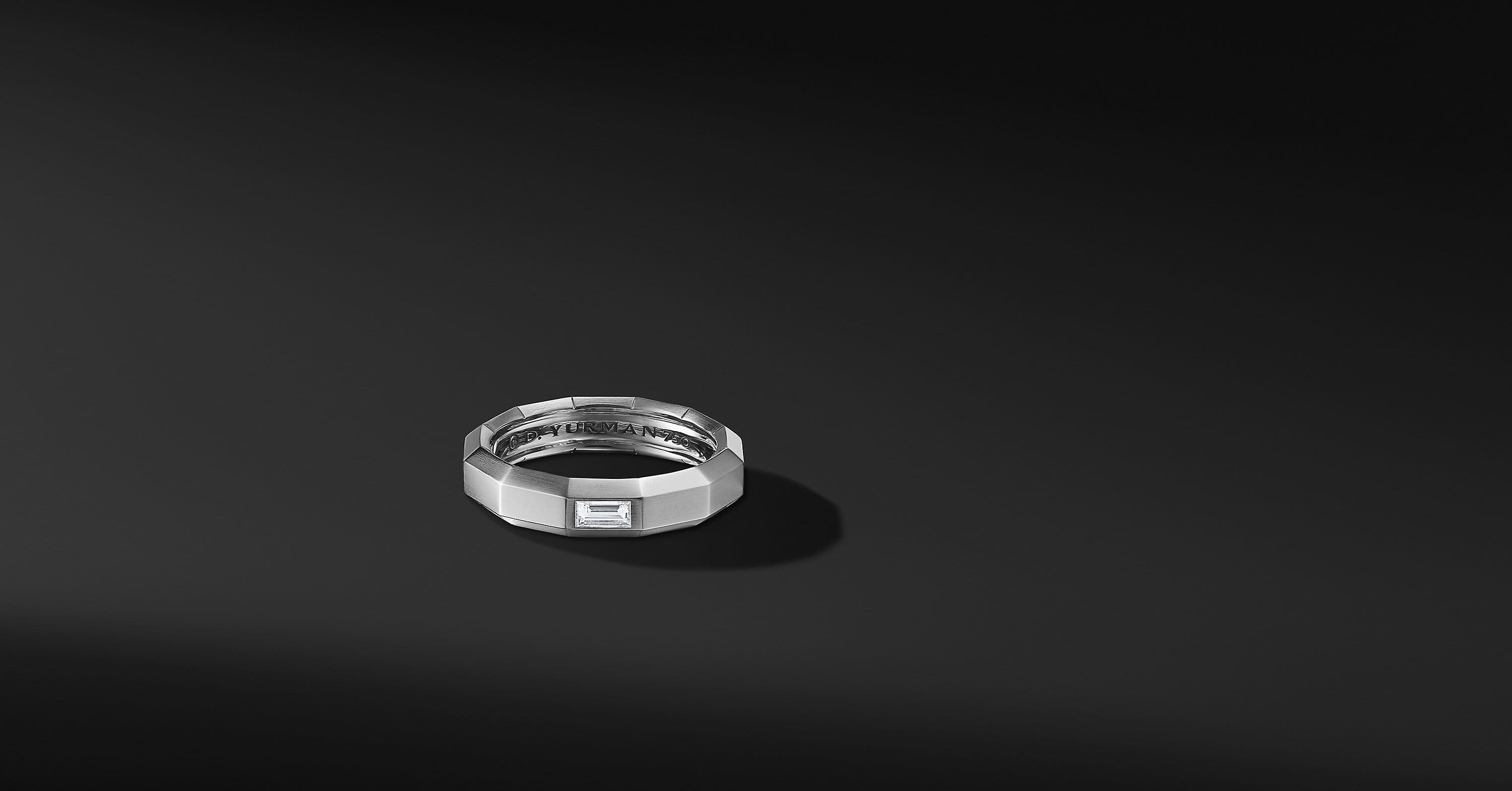 Faceted Band Ring in 18K White Gold with Diamonds, 6mm