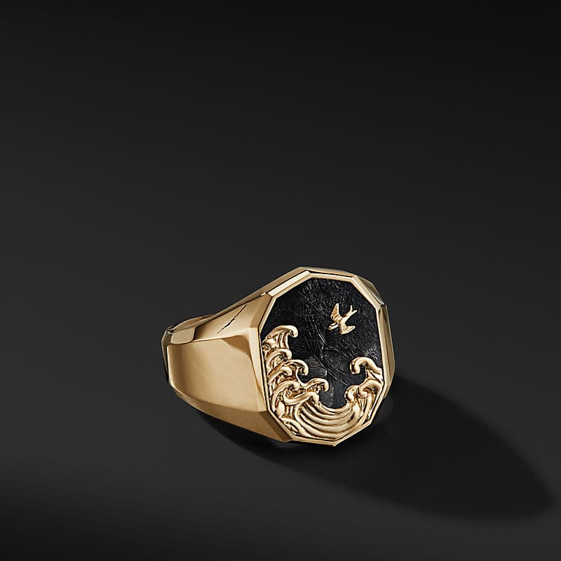 Waves Signet Ring in 18K Yellow Gold with