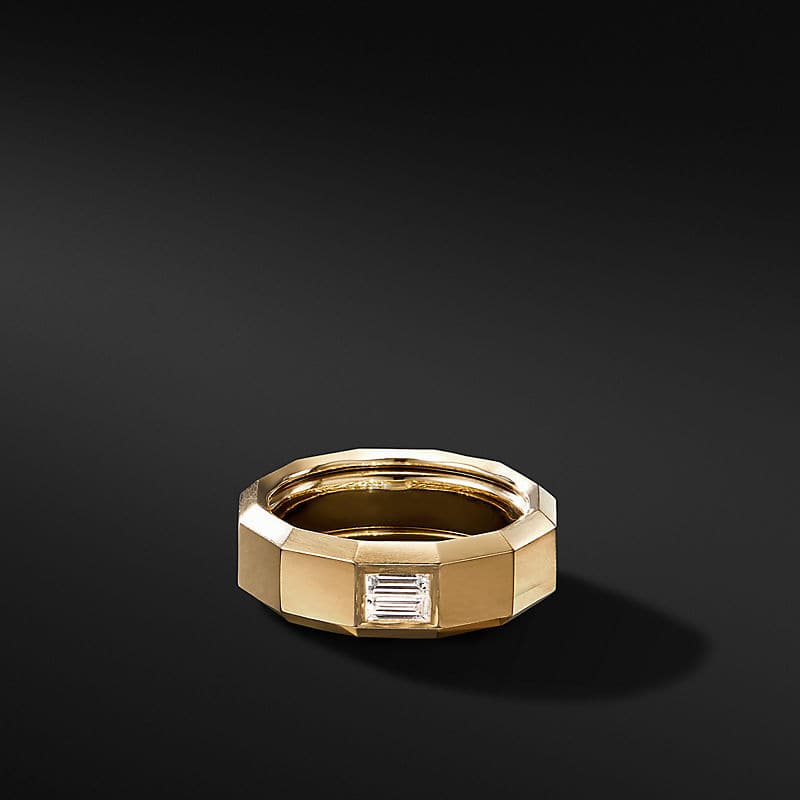 Faceted Band Ring in 18K Yellow Gold with Diamond Baguette, 8mm